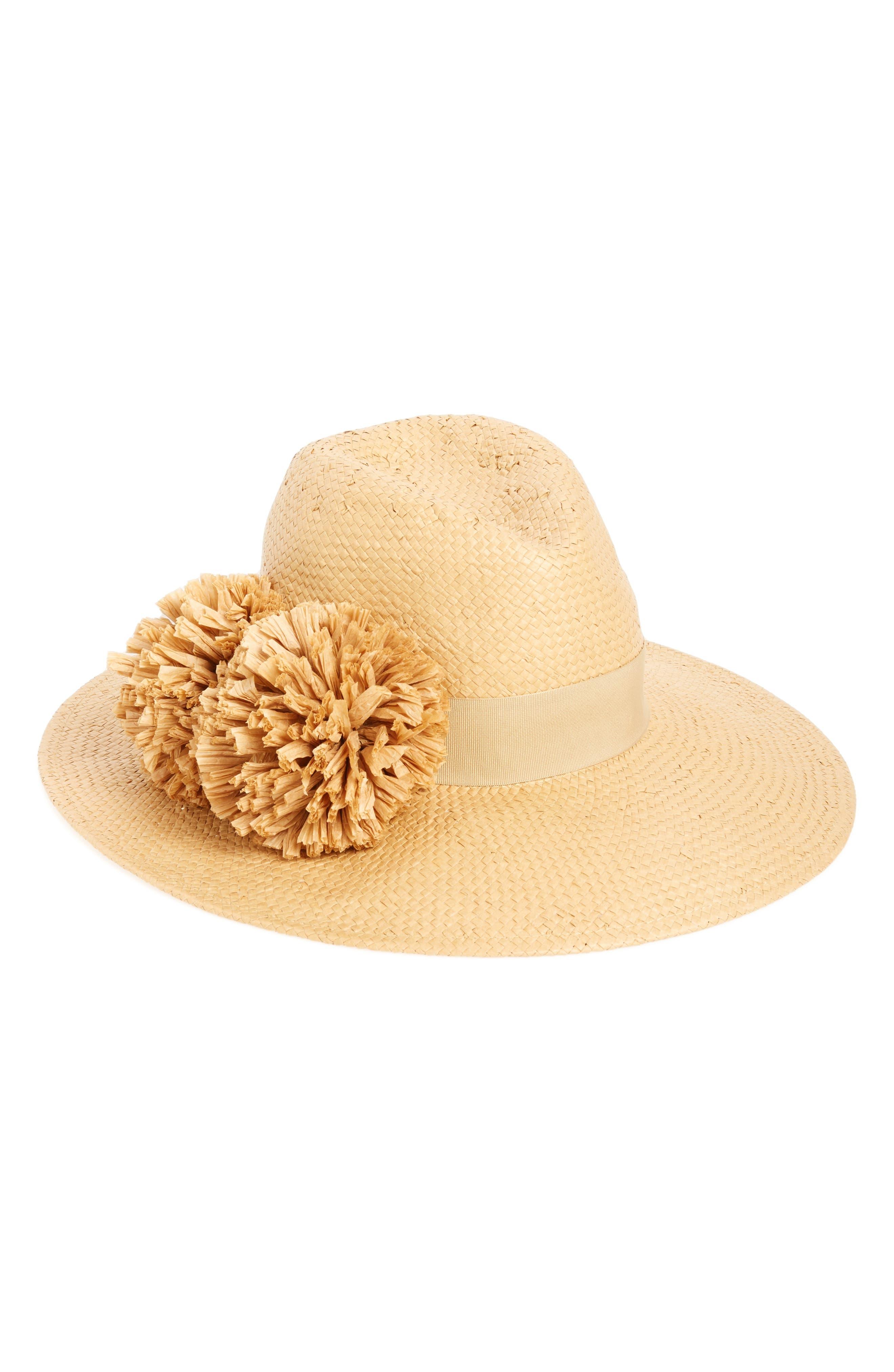 August Hat Pom Straw Fedora