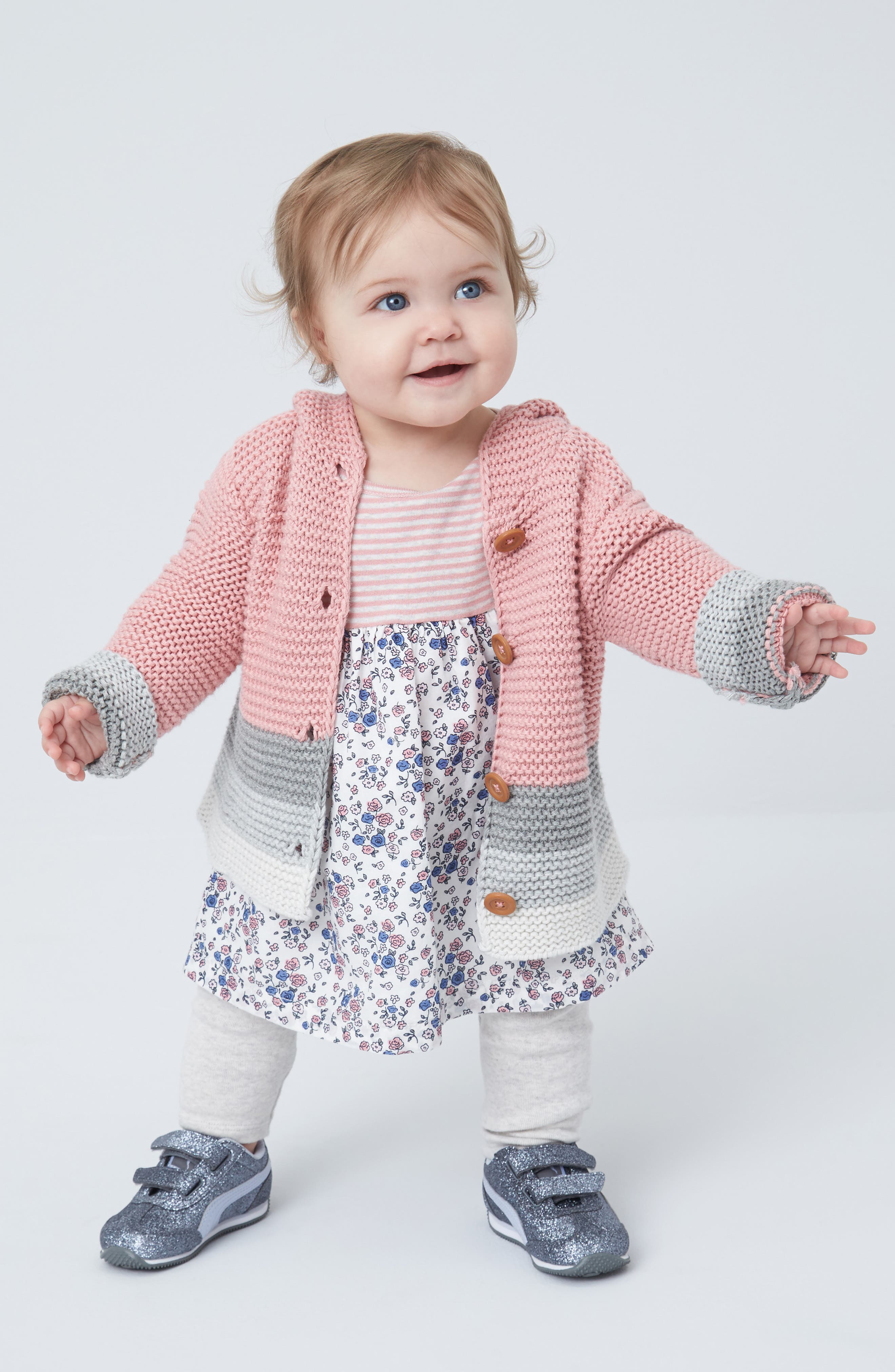 Nordstrom Baby Cardigan, Dress & Leggings Outfit with Accessories (Baby Girls)