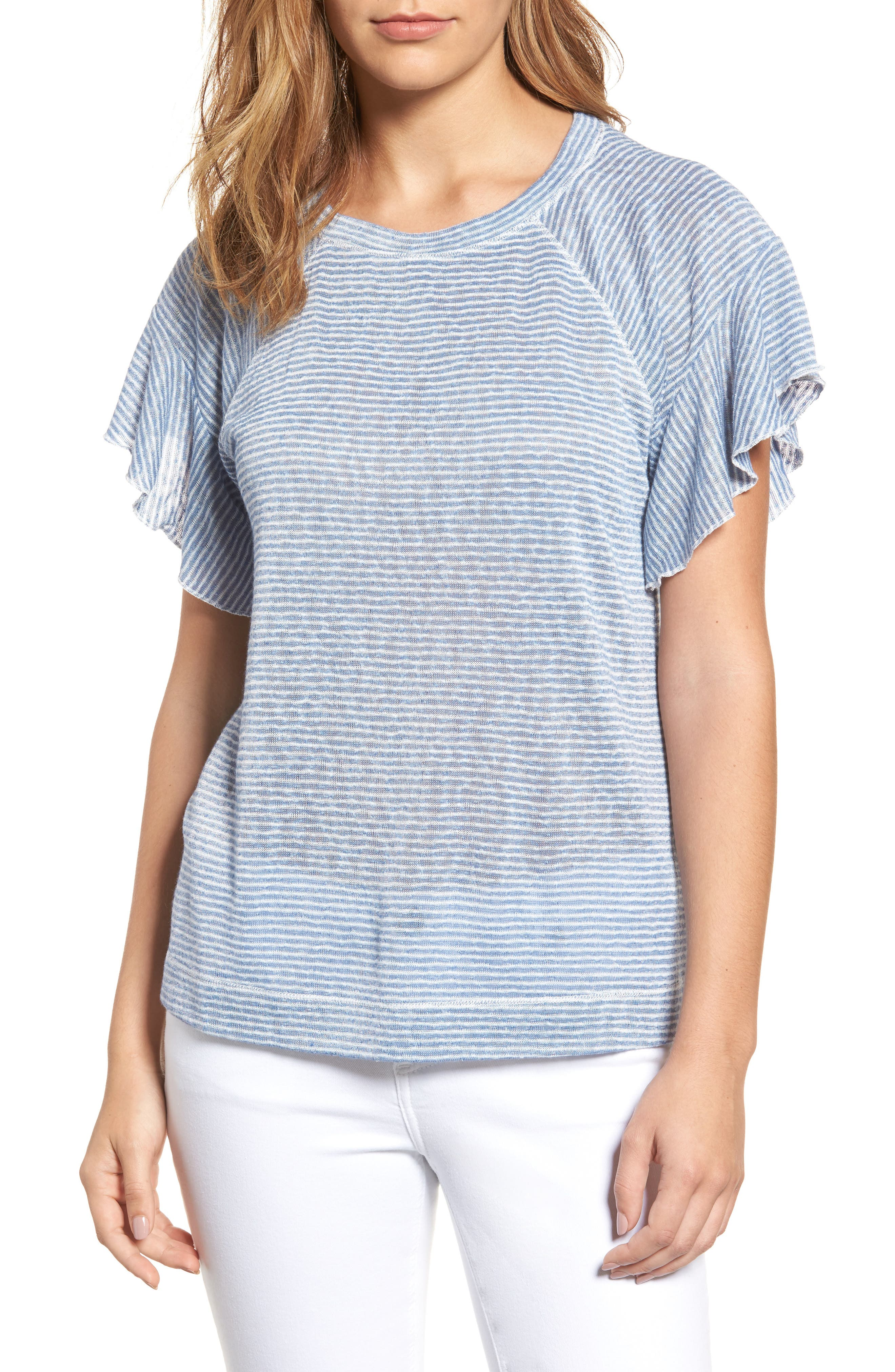 Wit & Wisdom Stripe Knit Flutter Sleeve Top (Nordstrom Exclusive)