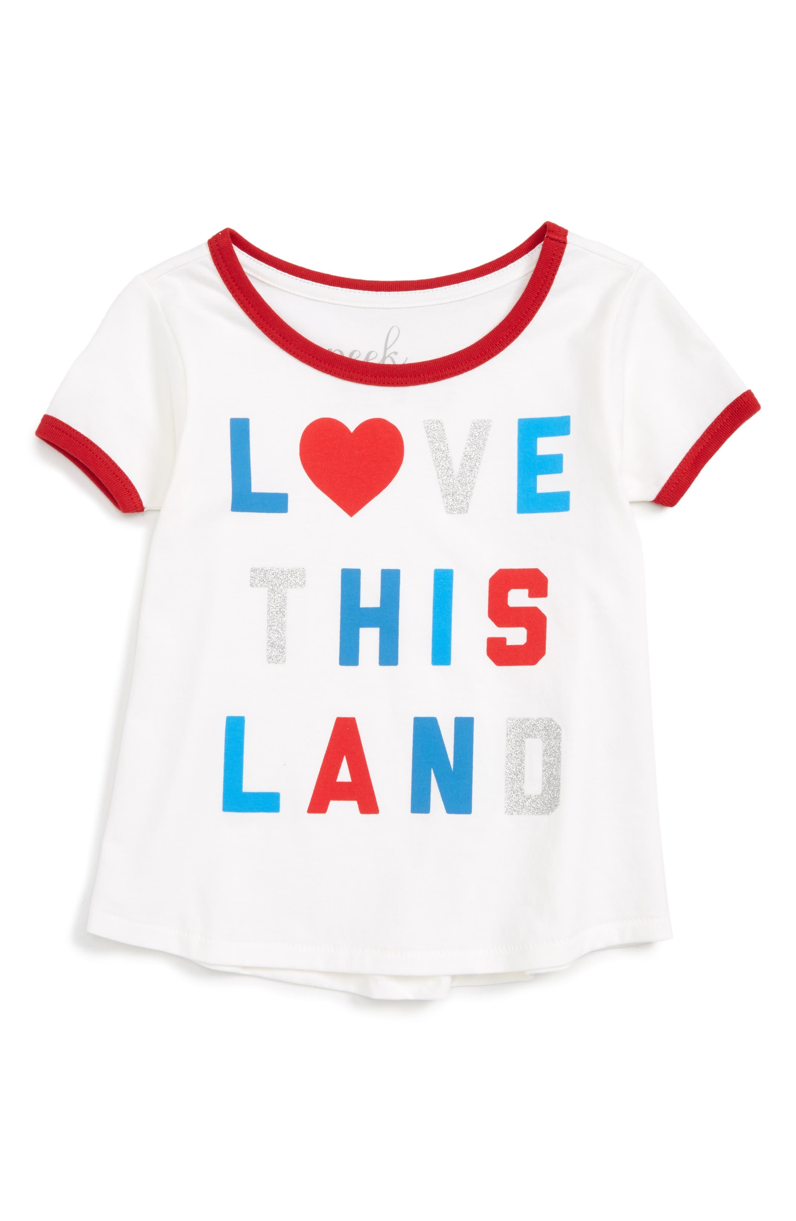 Peek Love This Land Ringer Tee (Toddler Girls, Little Girls & Big Girls)