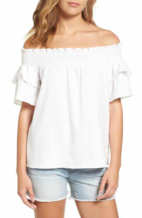 Caslon® Off the Shoulder Ruffle Sleeve Top (Regular   Petite)