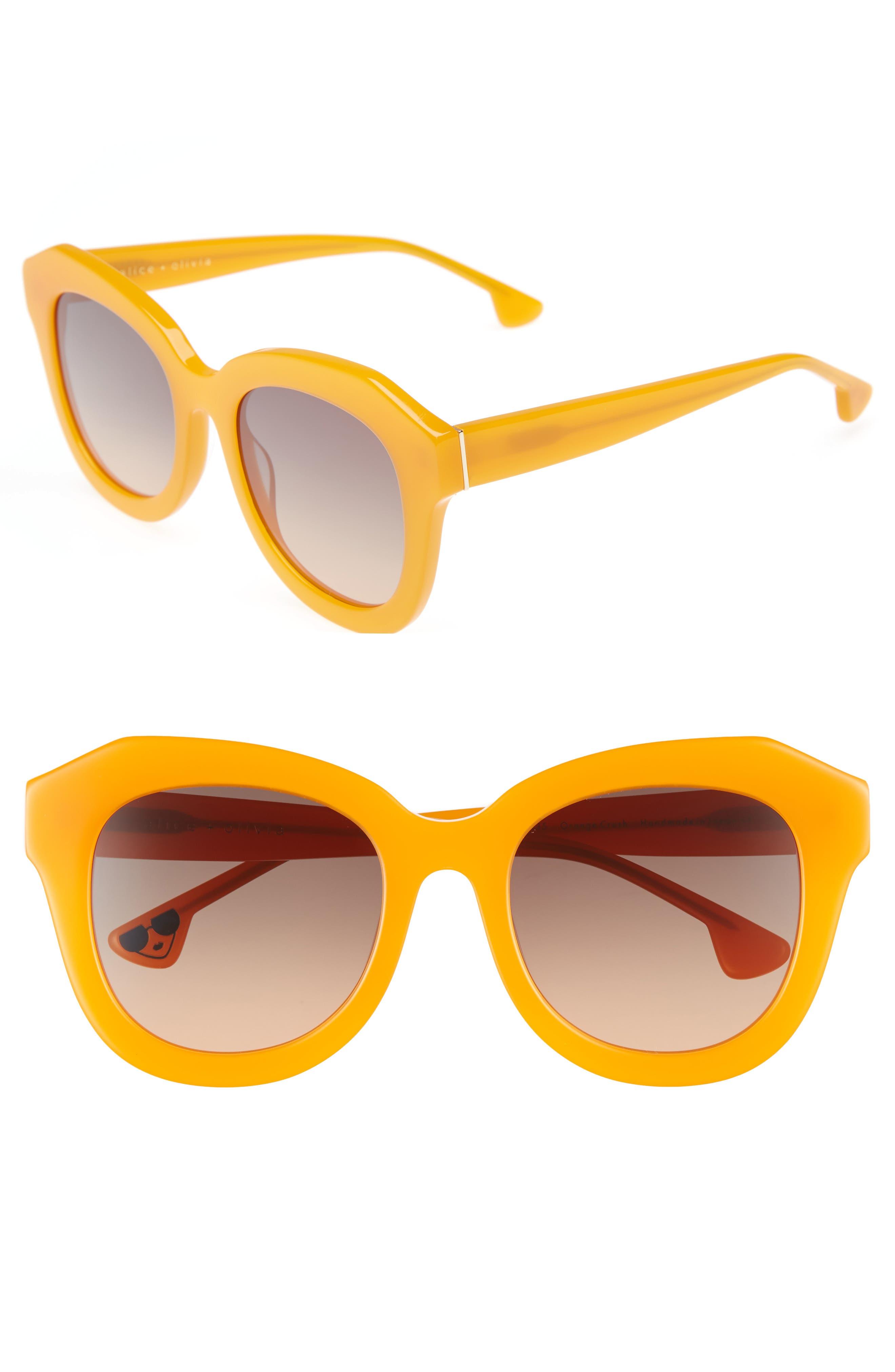 Alice + Olivia Frank 52mm Geometric Sunglasses