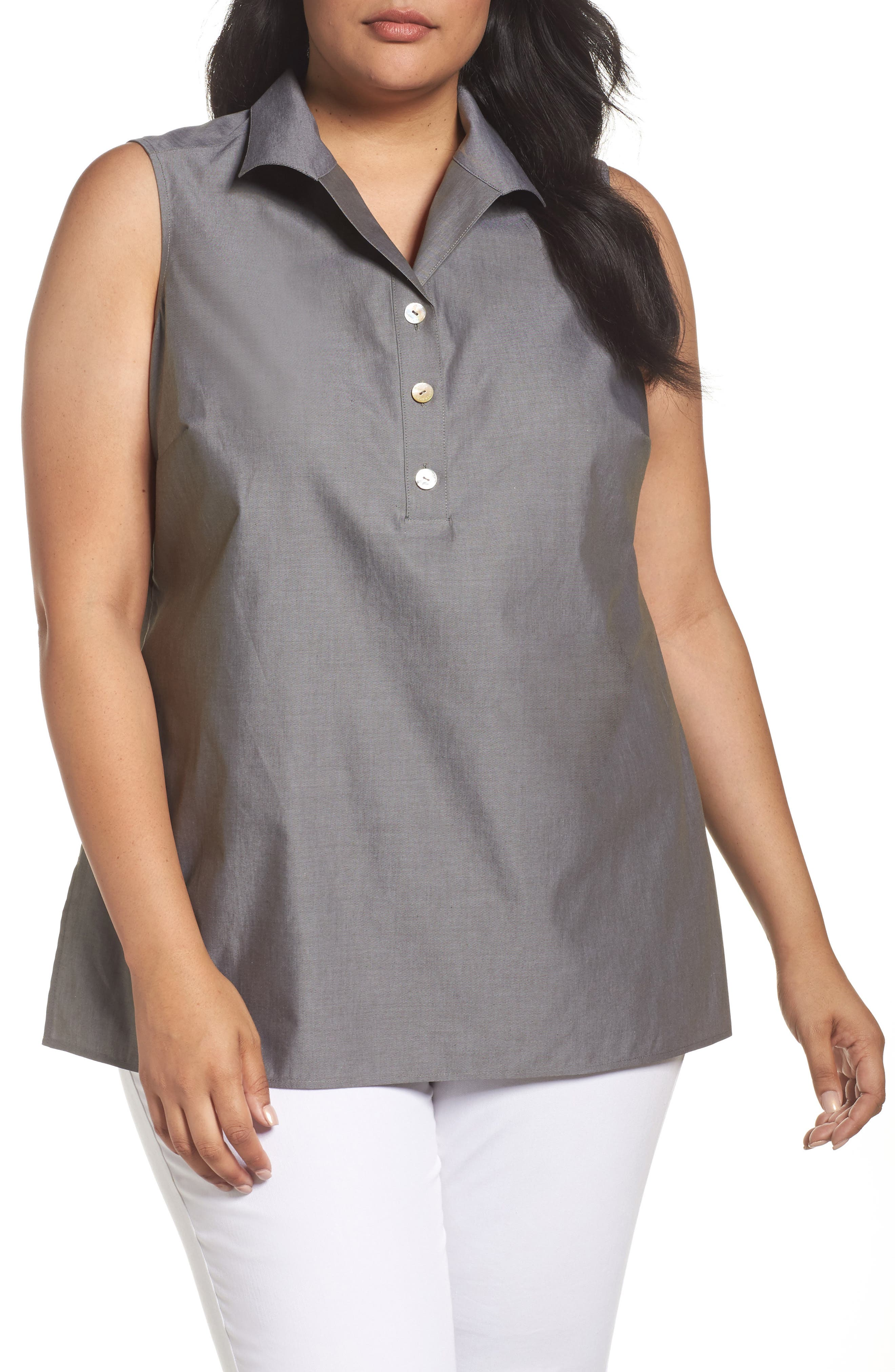 Foxcroft Dani Button Back Sleeveless Top (Plus Size)