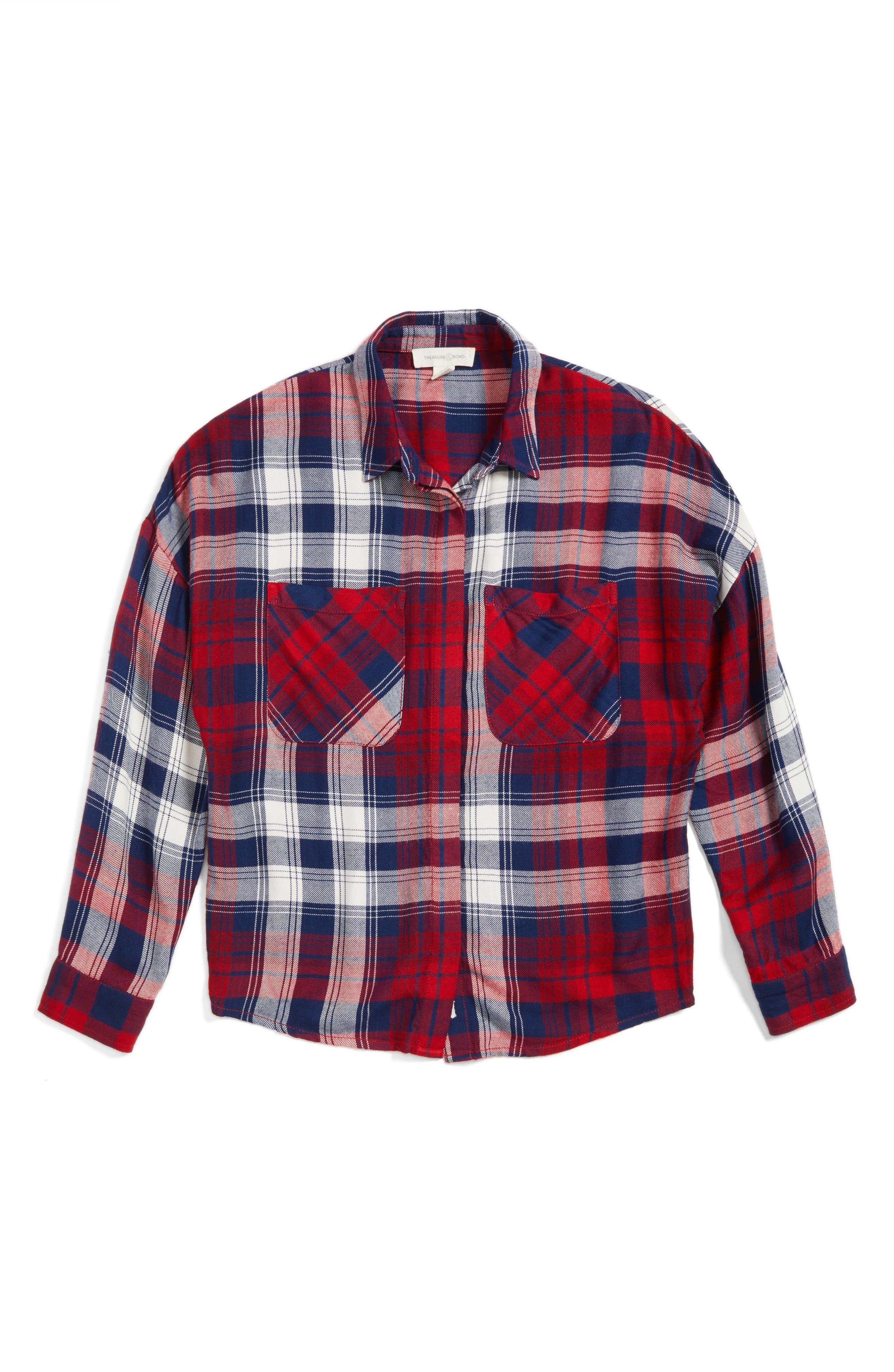 Treasure & Bond Oversize Pocket Plaid Shirt (Big Girls)