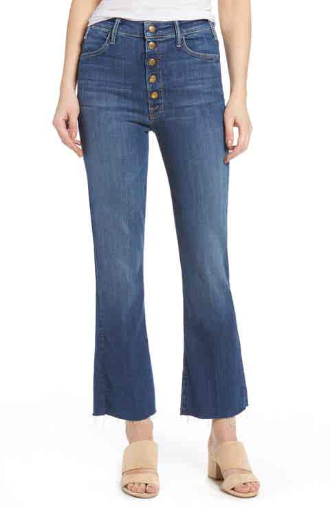 MOTHER Hustler Snap Down High Rise Ankle Flare Jeans (Medium Kitty)
