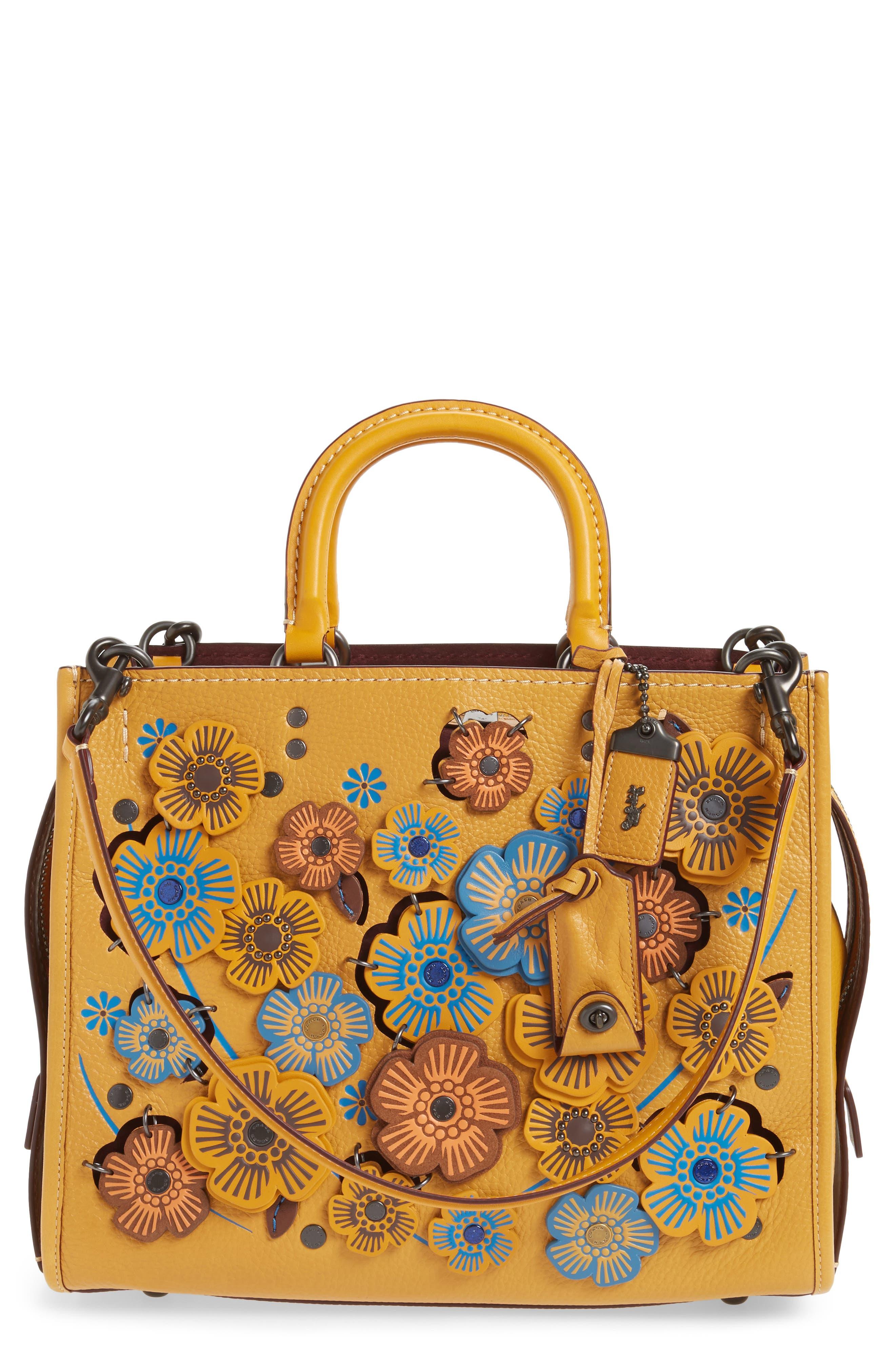 COACH 1941 Rogue Tea Rose Appliqué Leather Crossbody Bag