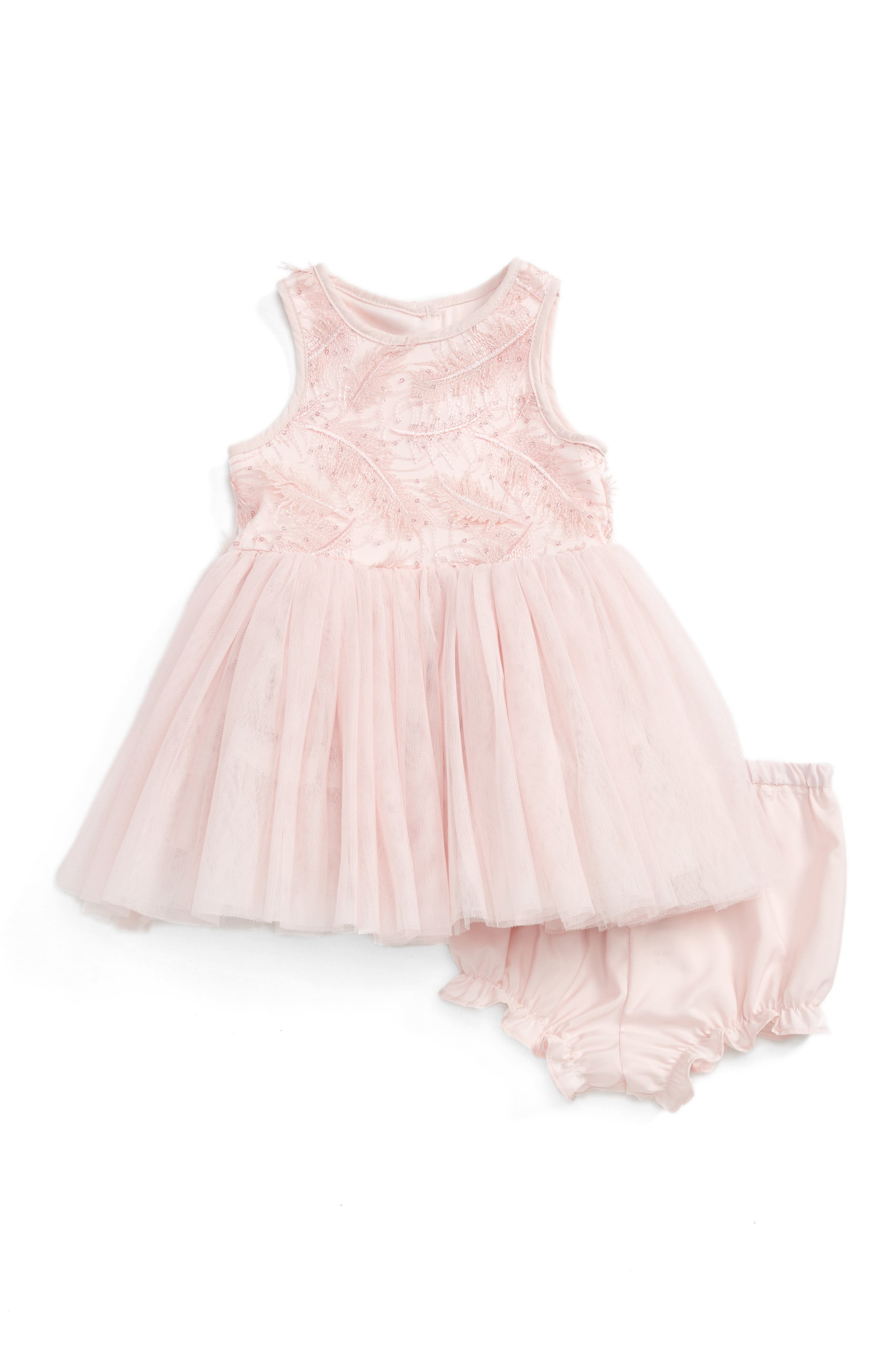 Pippa & Julie Feather Embroidered Party Dress (Baby Girls)