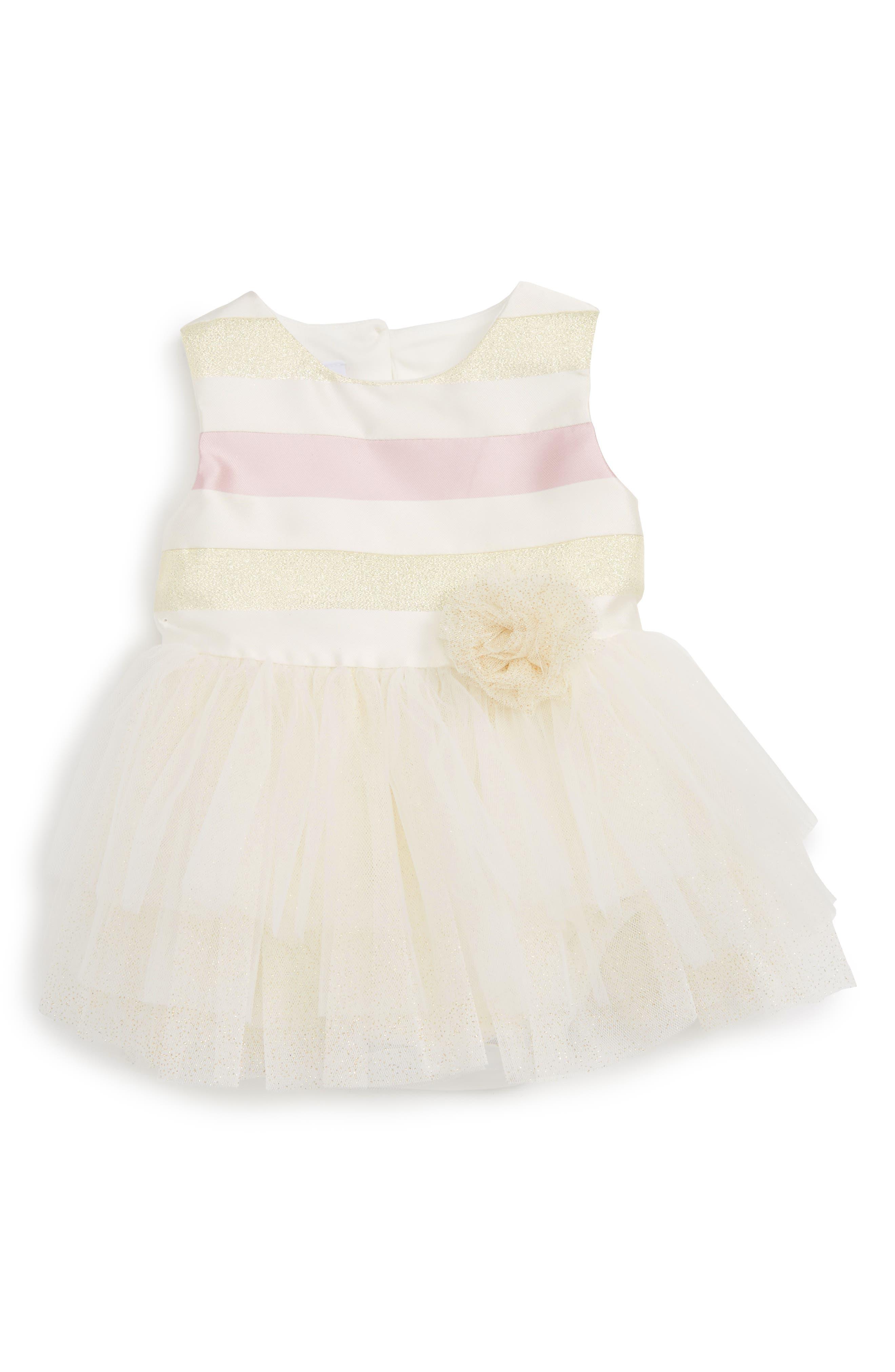 Frais Pink & Gold Stripe Tutu Dress (Baby Girls)