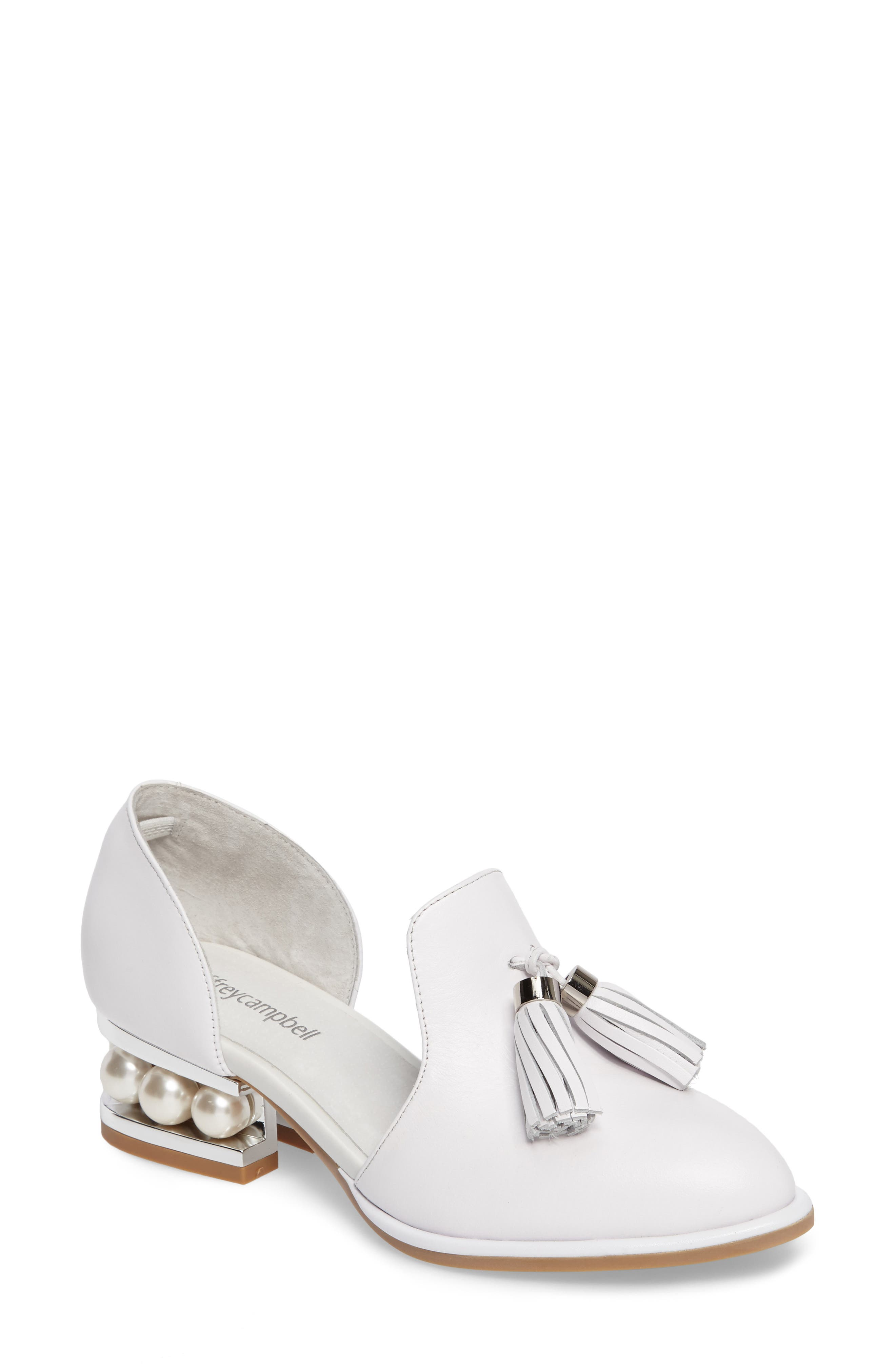 JEFFREY CAMPBELL 'Civil' Pearly Heeled Beaded Tassel Loafer
