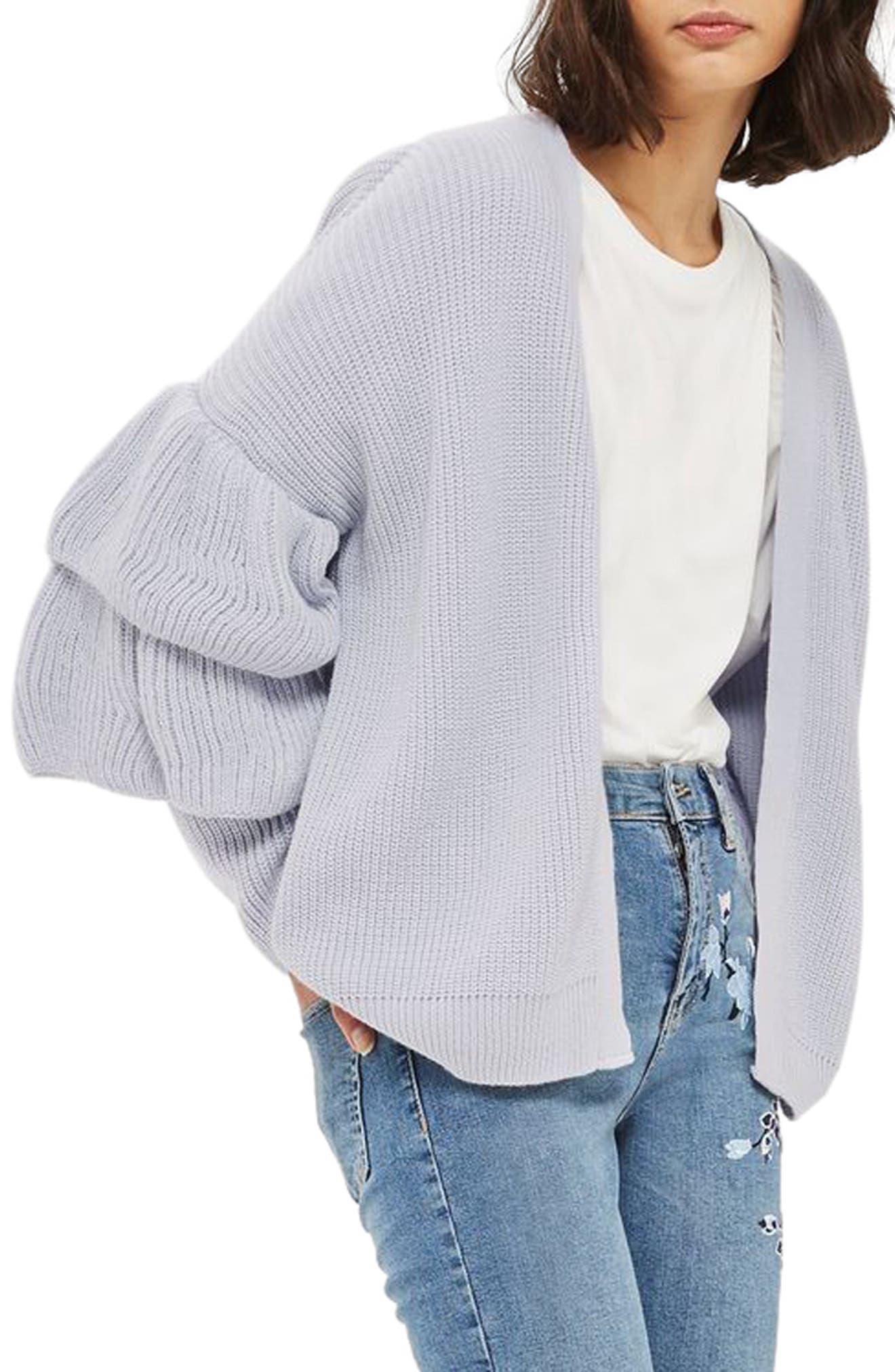 Alternate Image 1 Selected - Topshop Layered Ruffle Sleeve Cardigan