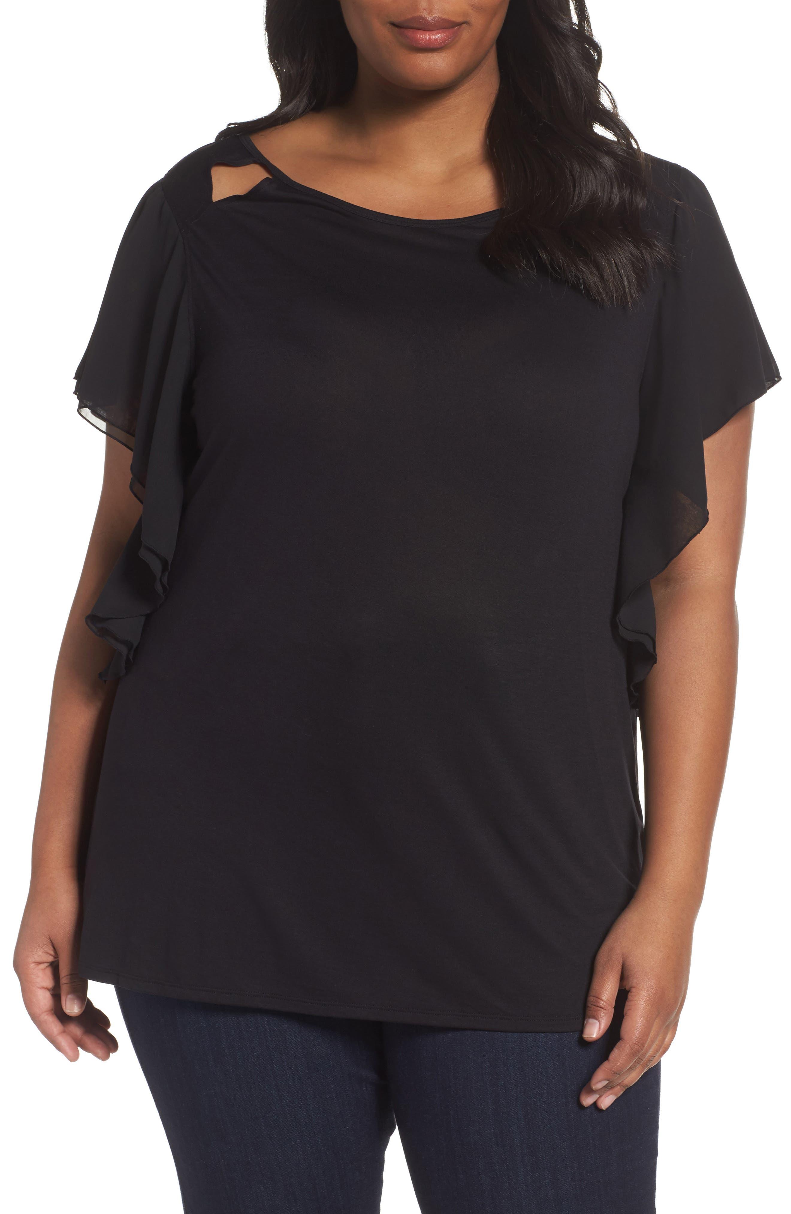 Sejour Cutout Ruffle Sleeve Top (Plus Size)