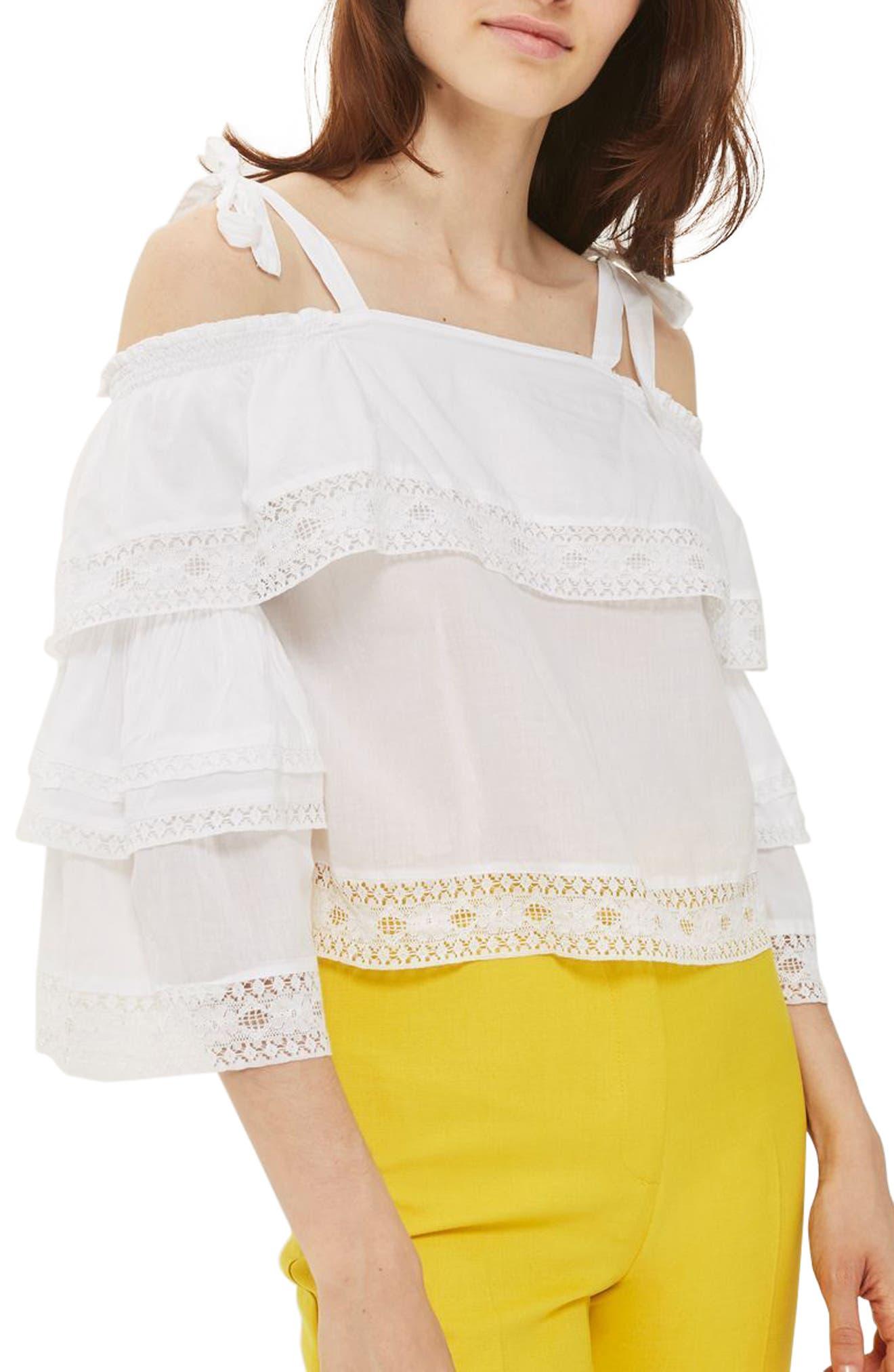 Topshop Lace Trim Off the Shoulder Top