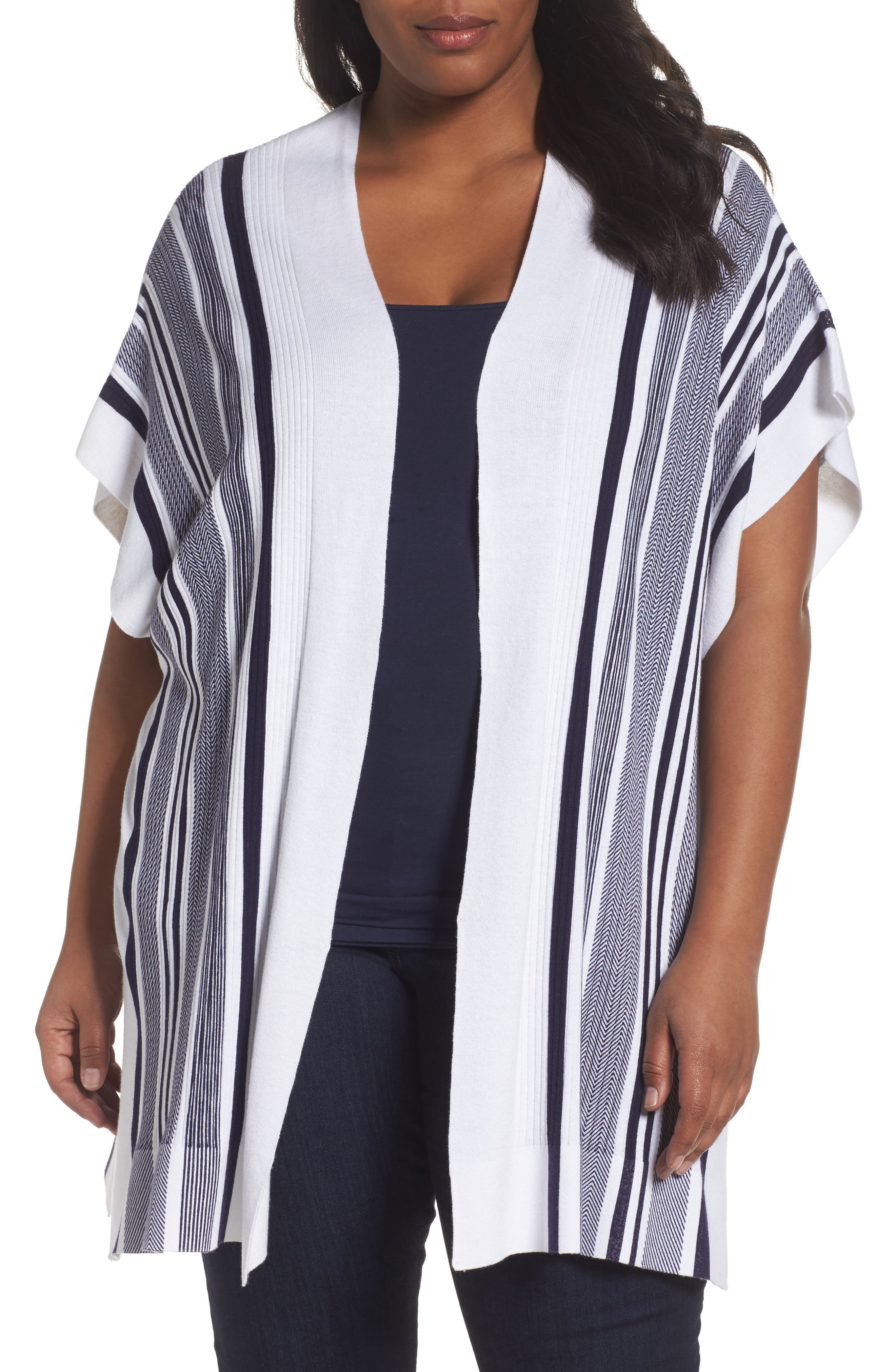 Foxcroft Kris Stripe Knit Open Cardigan (Plus Size)