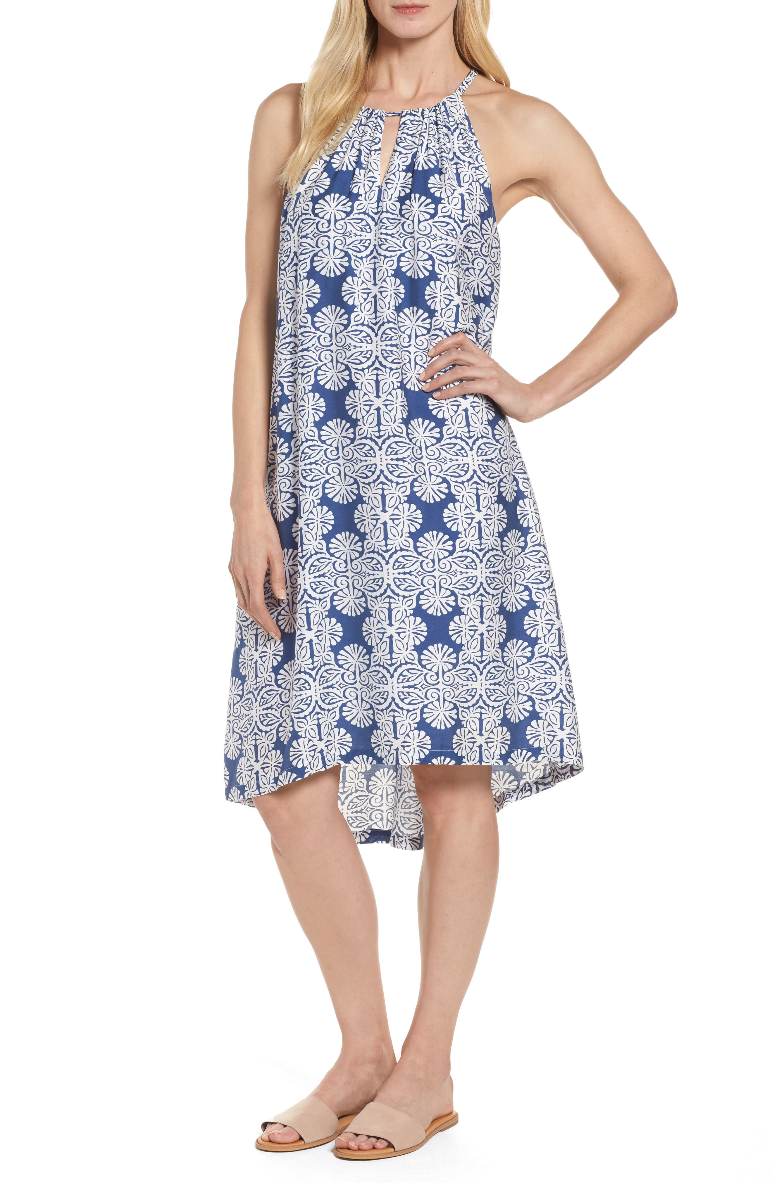 Vineyard Vines Mirrored Leaves Trapeze Halter Dress