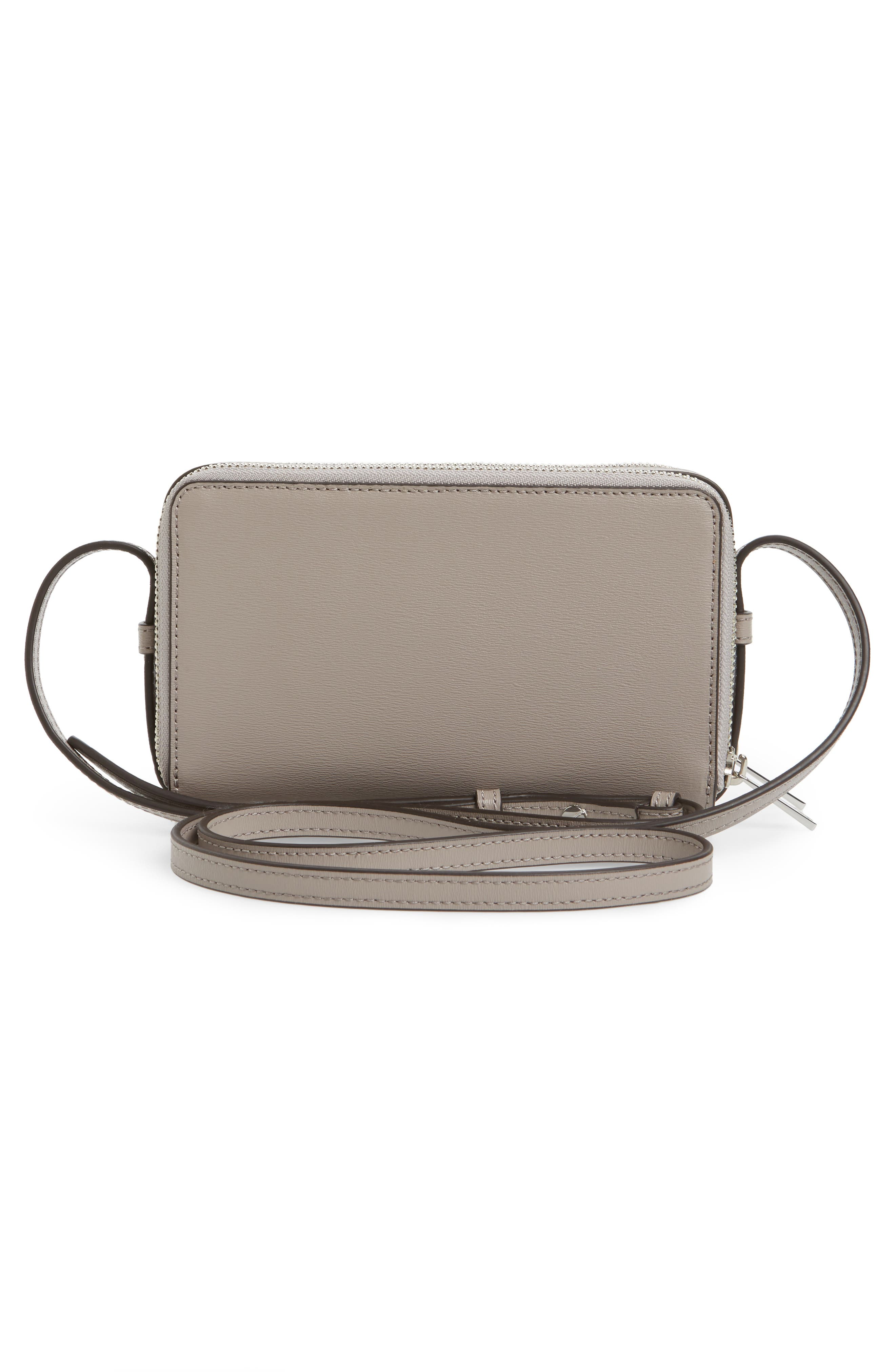 TORY BURCH Mini Parker Leather Crossbody Bag Gray | ModeSens