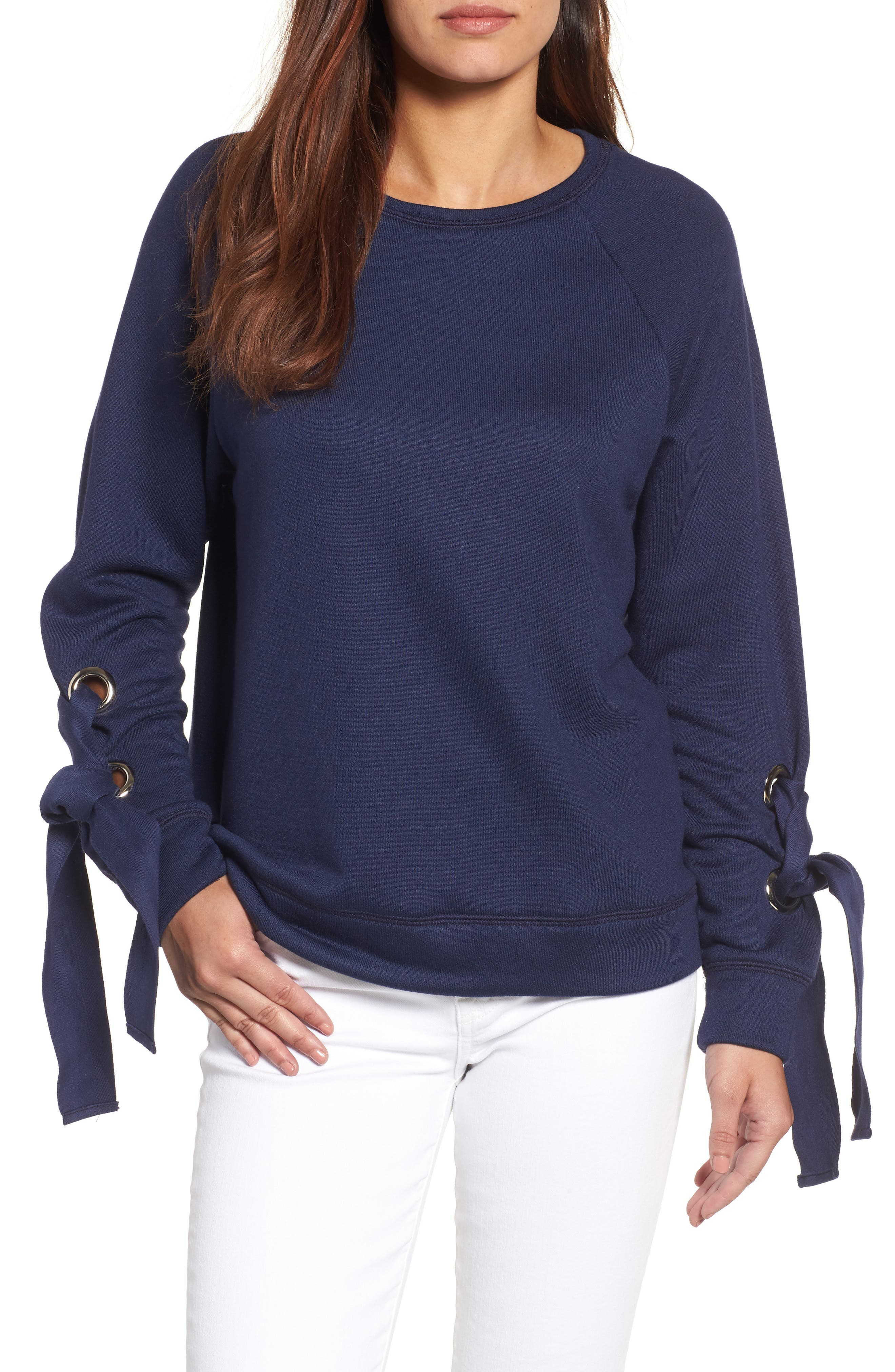 Alternate Image 1 Selected - Halogen® Tie Sleeve Sweatshirt (Regular & Petite)