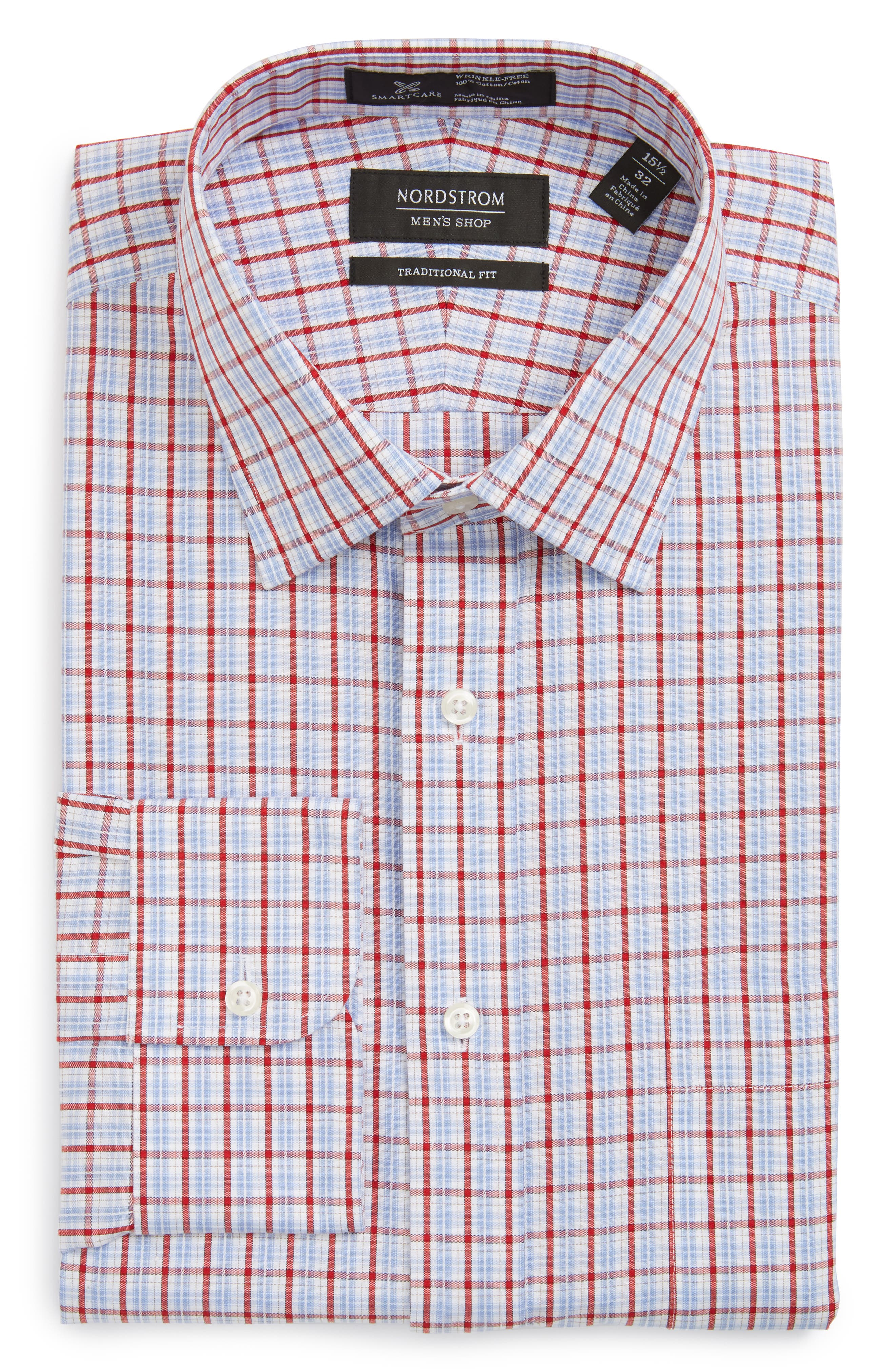 Nordstrom Men's Shop Smartcare™ Traditional Fit Plaid Dress Shirt