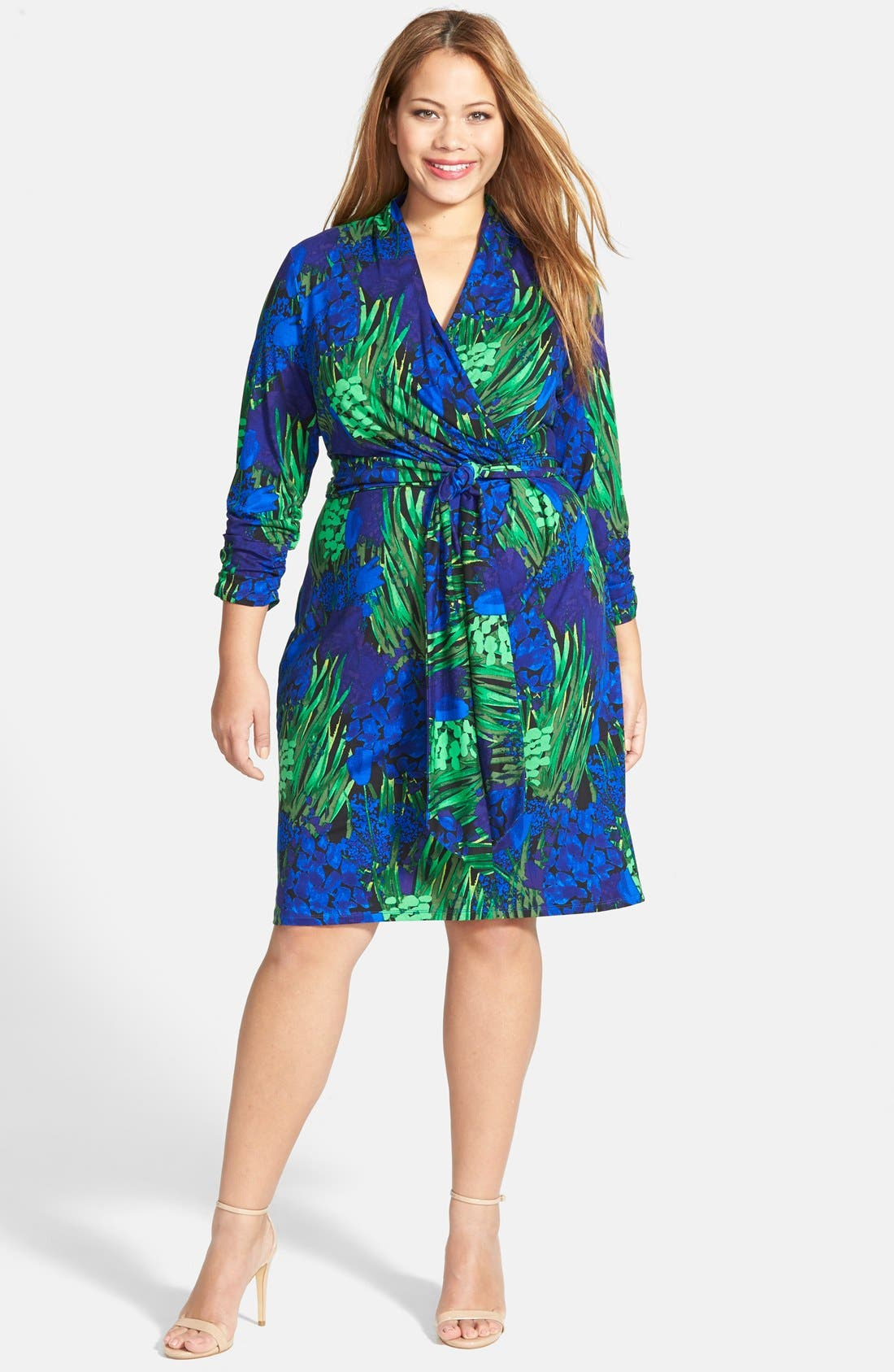 Alternate Image 4  - Adrianna Papell Print Ruched Sleeve Faux Wrap Dress (Plus Size)