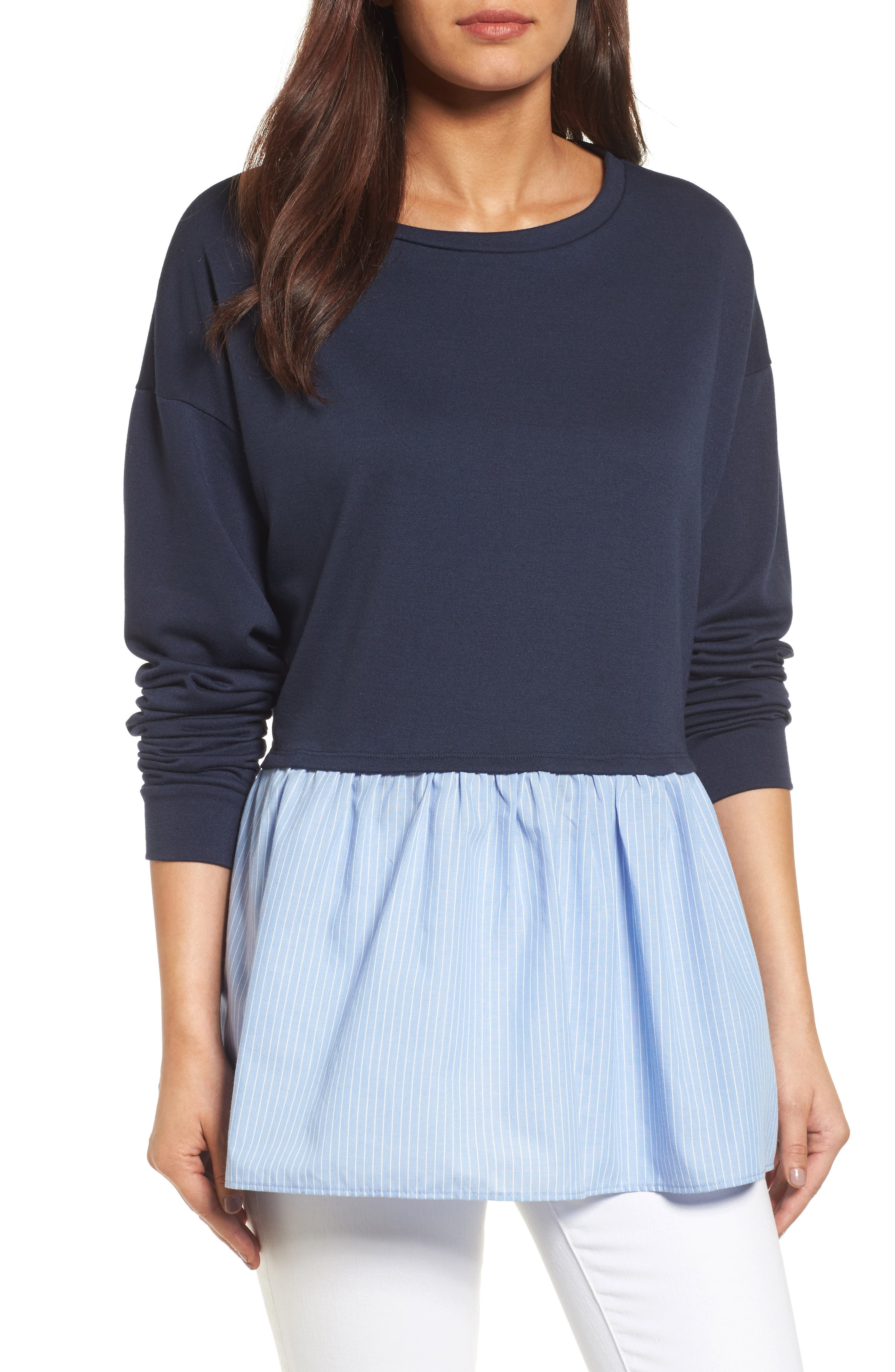 Caslon® Poplin Peplum Hem Sweatshirt (Regular & Petite)
