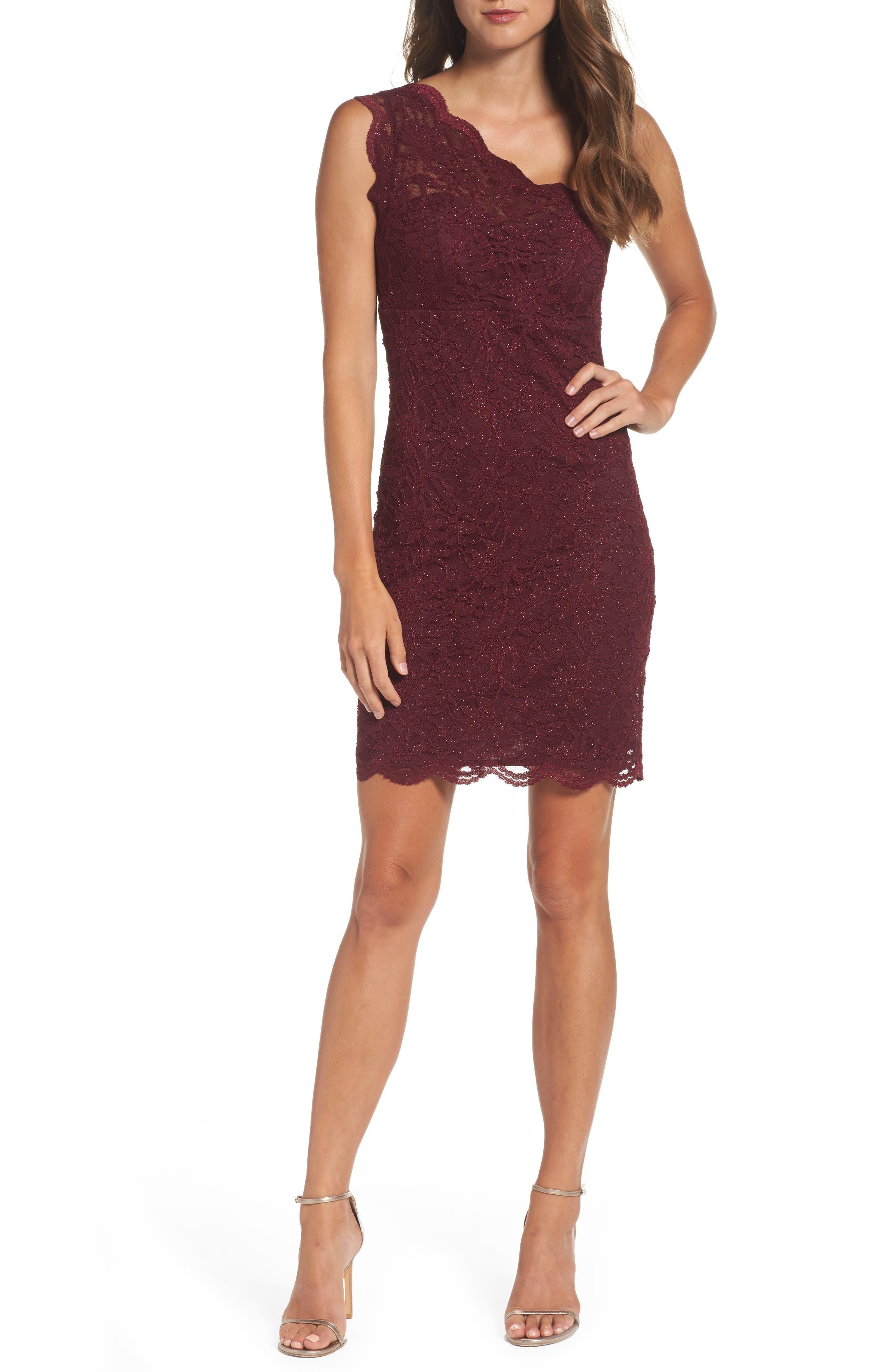 Morgan & Co. Glitter Lace One-Shoulder Body-Con Dress