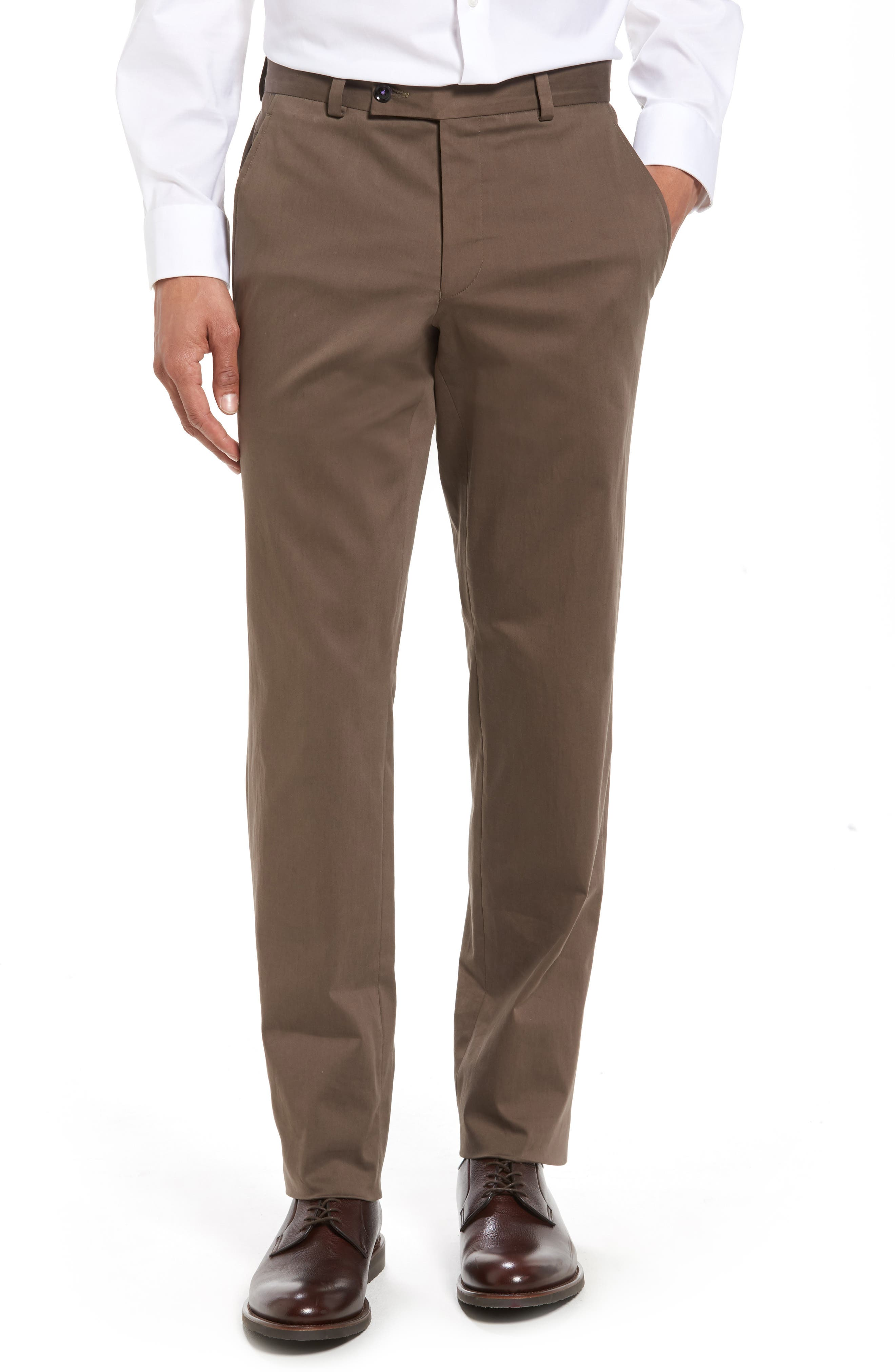Ted Baker London Jerome Flat Front Stretch Cotton Trousers