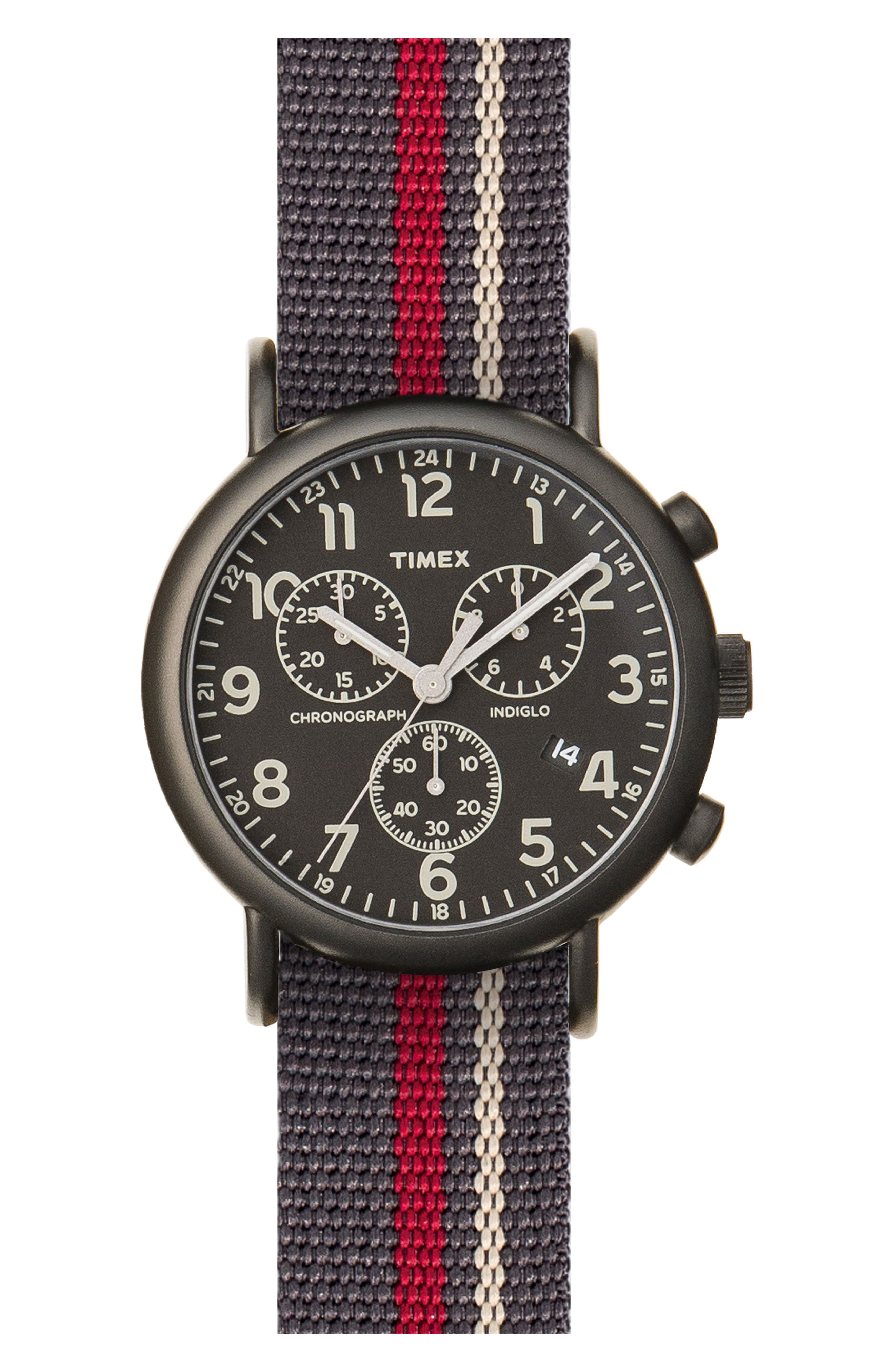 Timex® Chronograph Stripe Fabric Strap Watch, 40mm