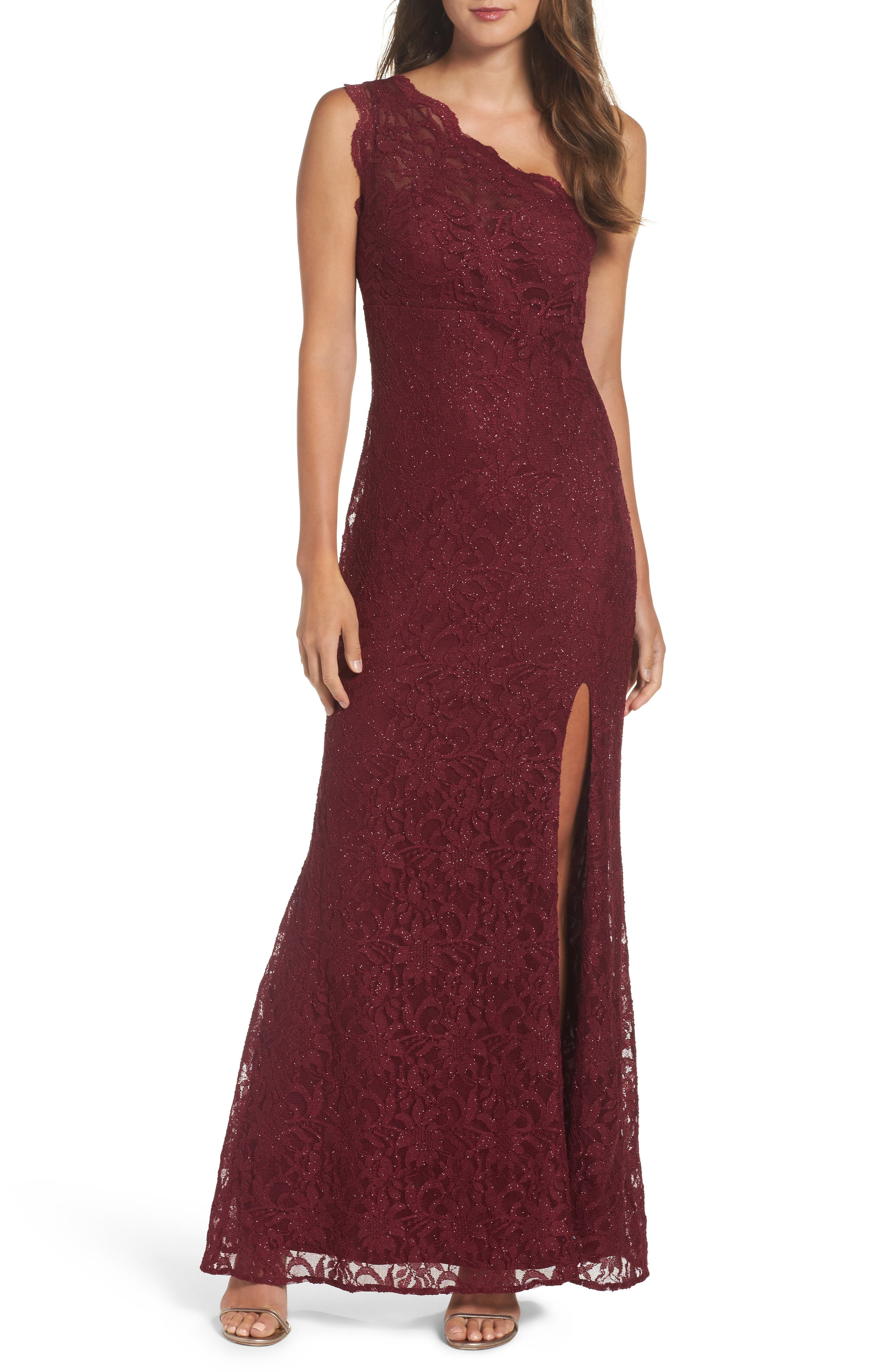 Morgan & Co. One-Shoulder Lace Gown
