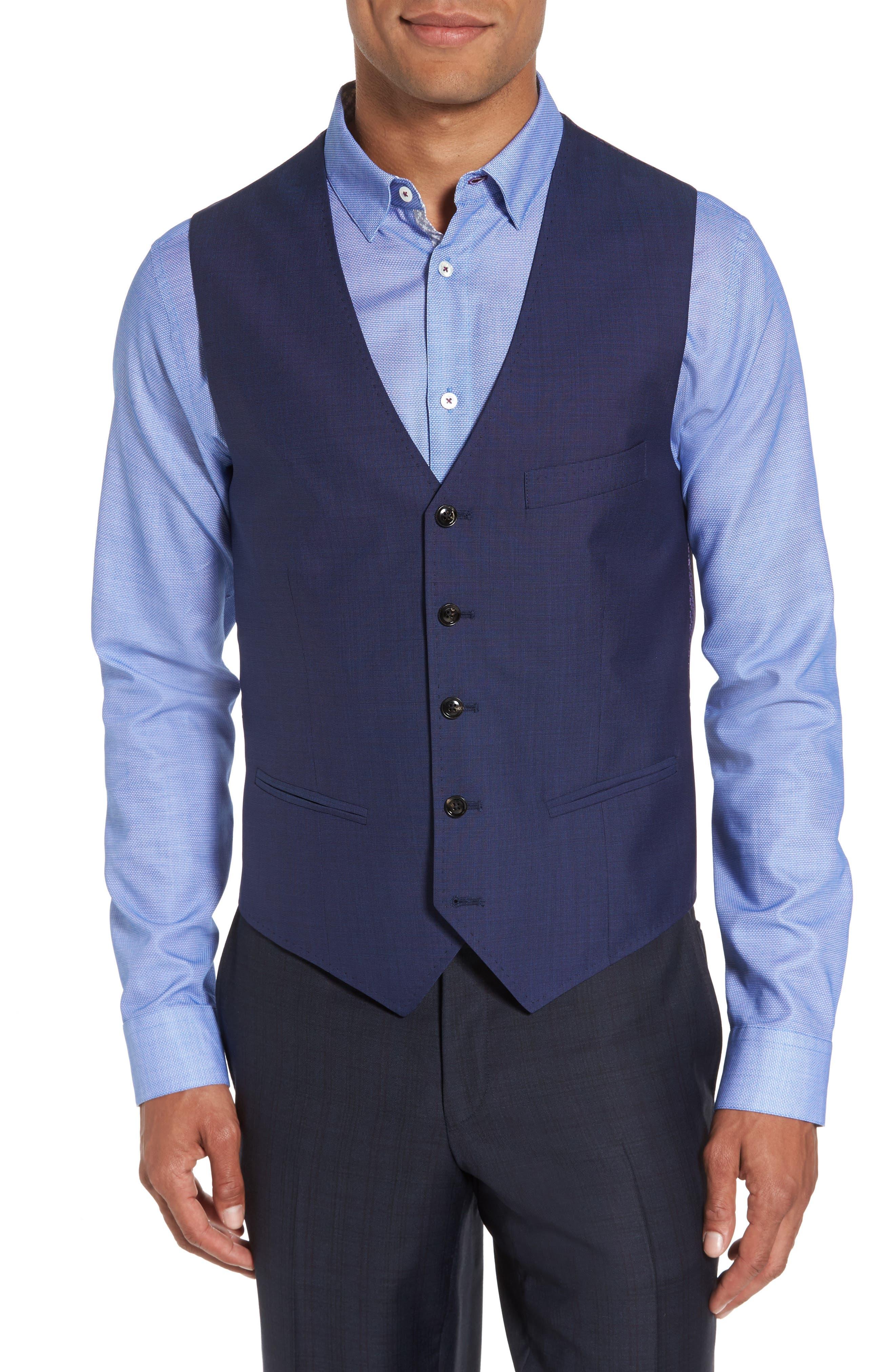 Ted Baker London Jones Trim Fit Solid Wool Vest