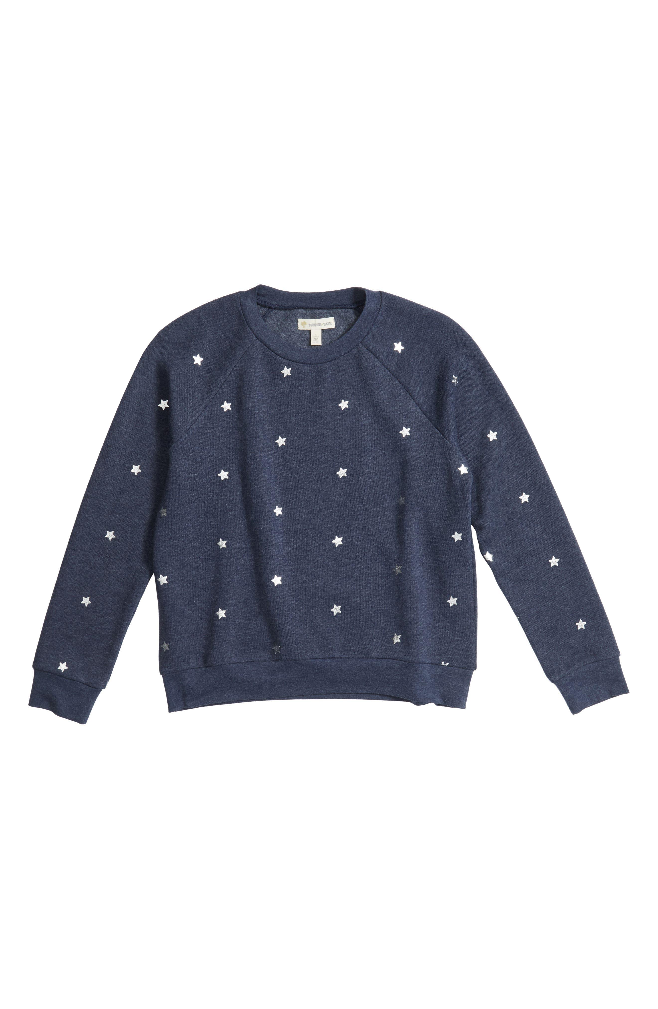 Tucker + Tate Foil Print Fleece Pullover (Big Girls)