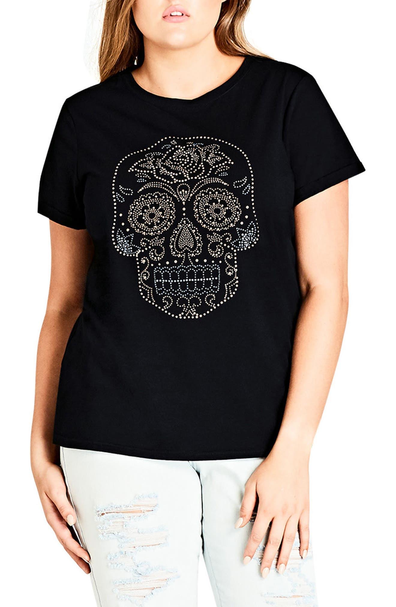 City Chic Skull Embellished Tee (Plus Size)