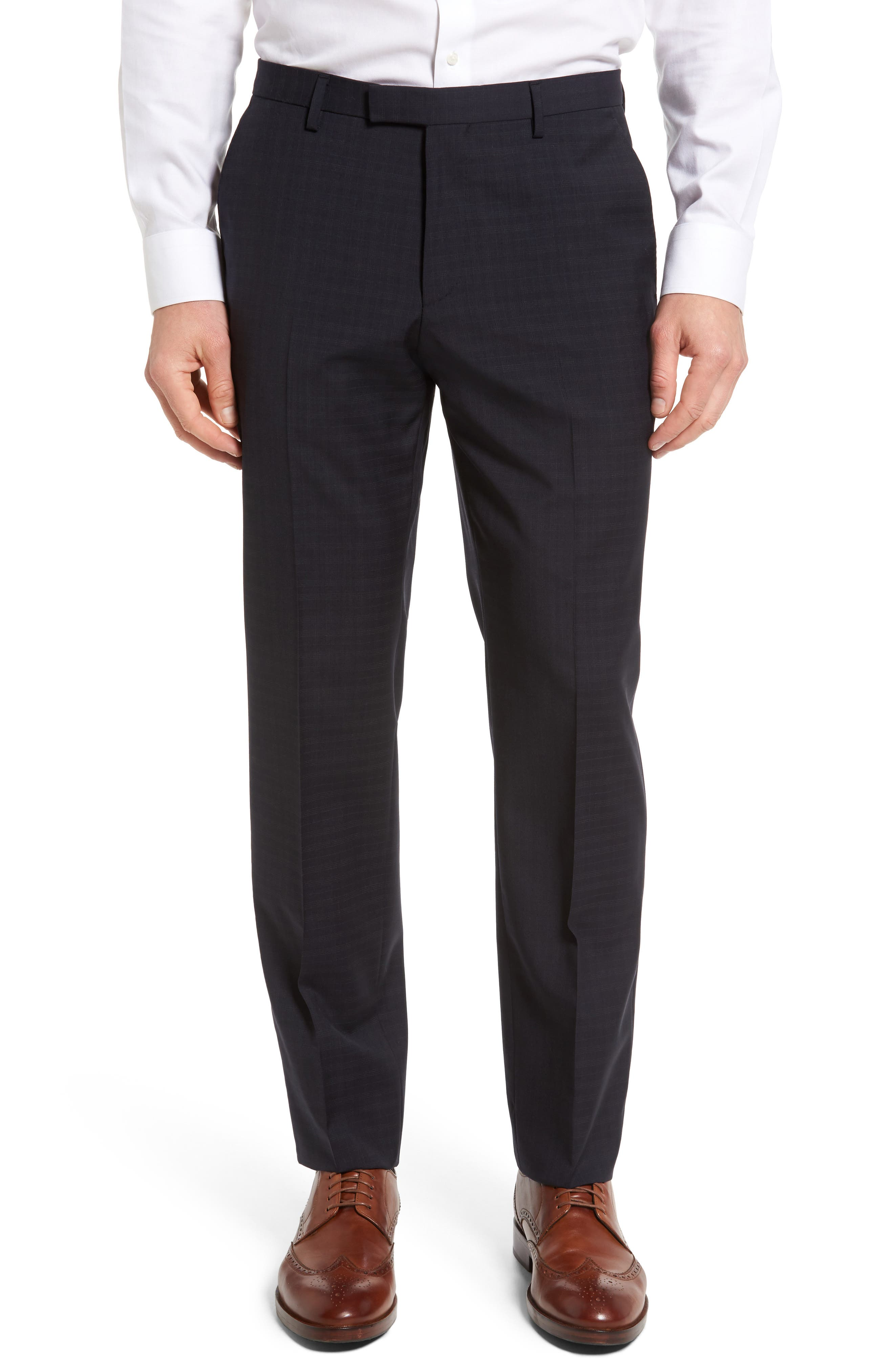 BOSS Leenon Flat Front Plaid Wool Trousers