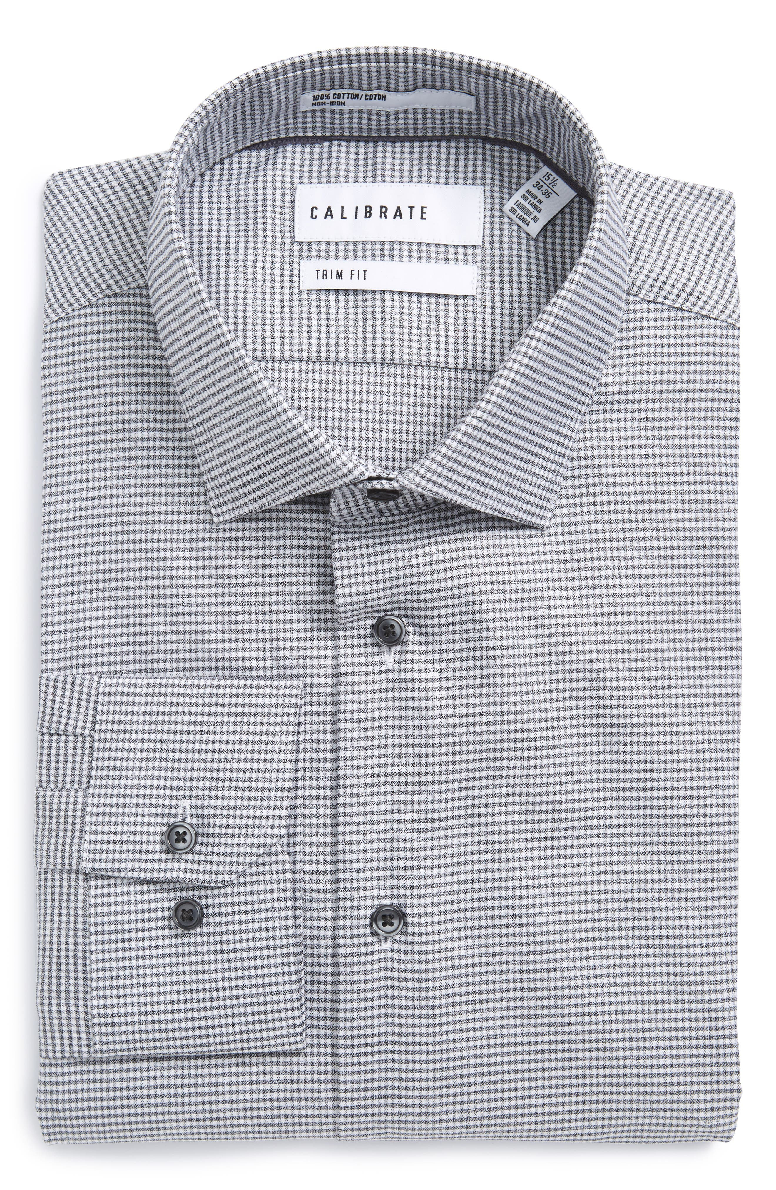 Calibrate Trim Fit Non-Iron Stretch Micro Check Dress Shirt