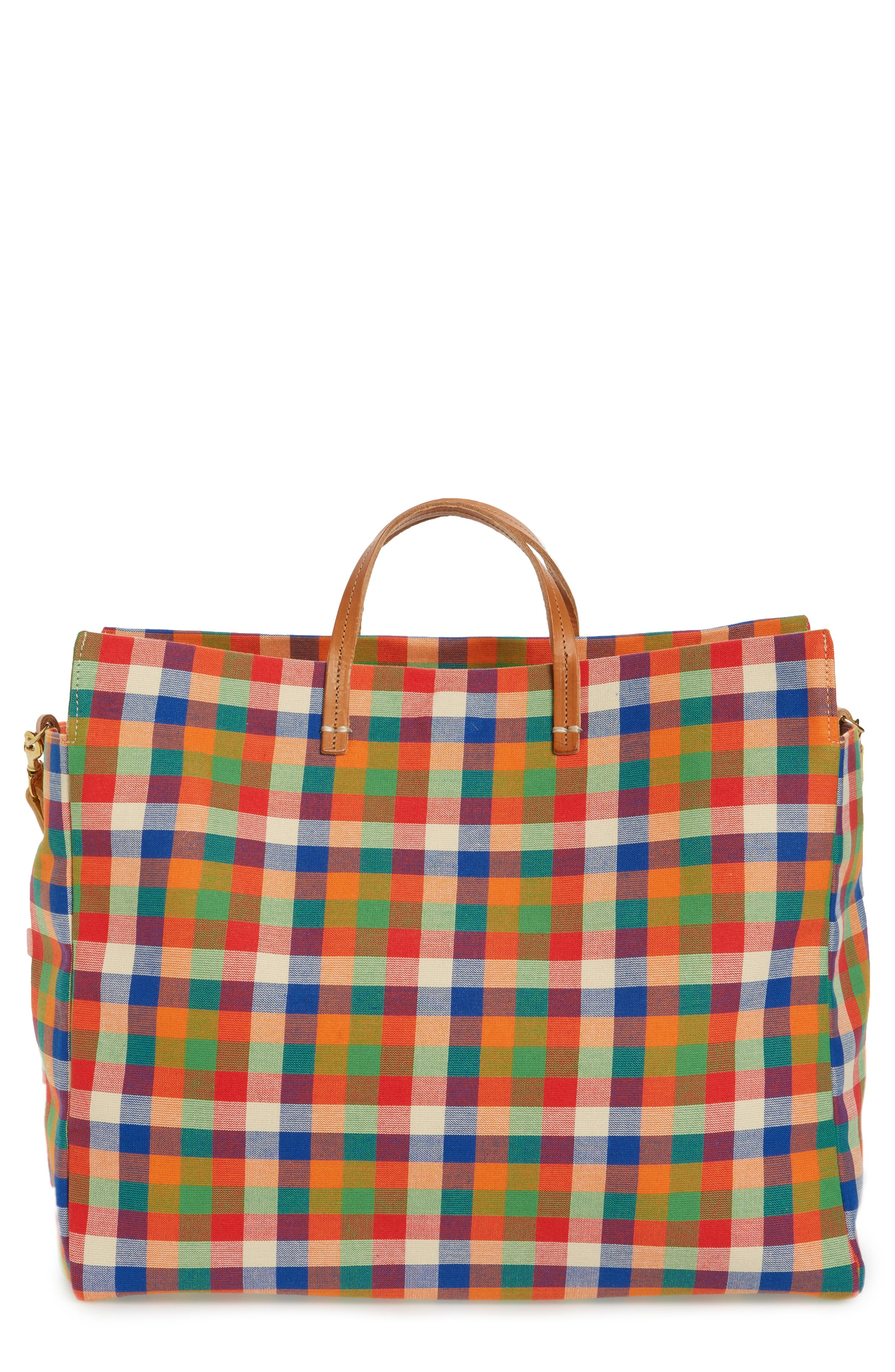 Clare V. Simple Plaid Canvas Tote