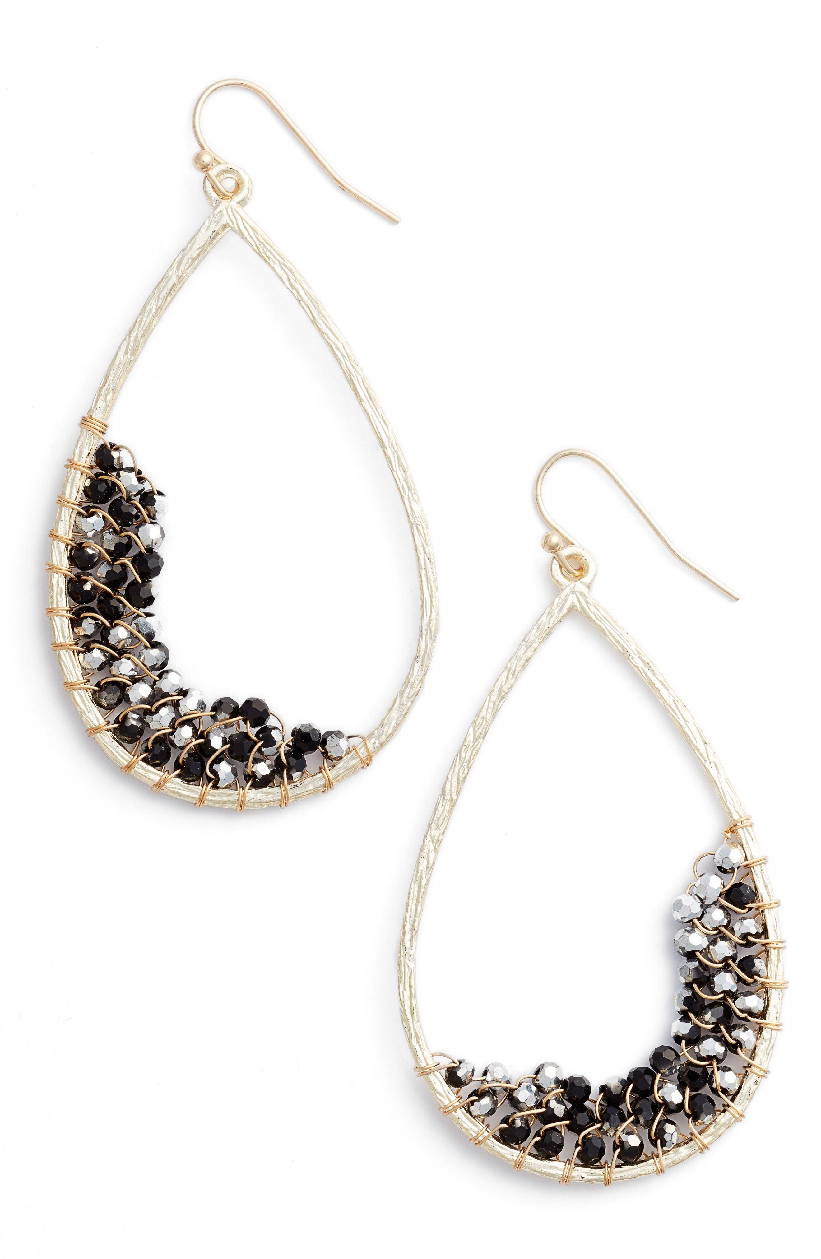 Panacea Crystal Embellished Teardrop Earrings