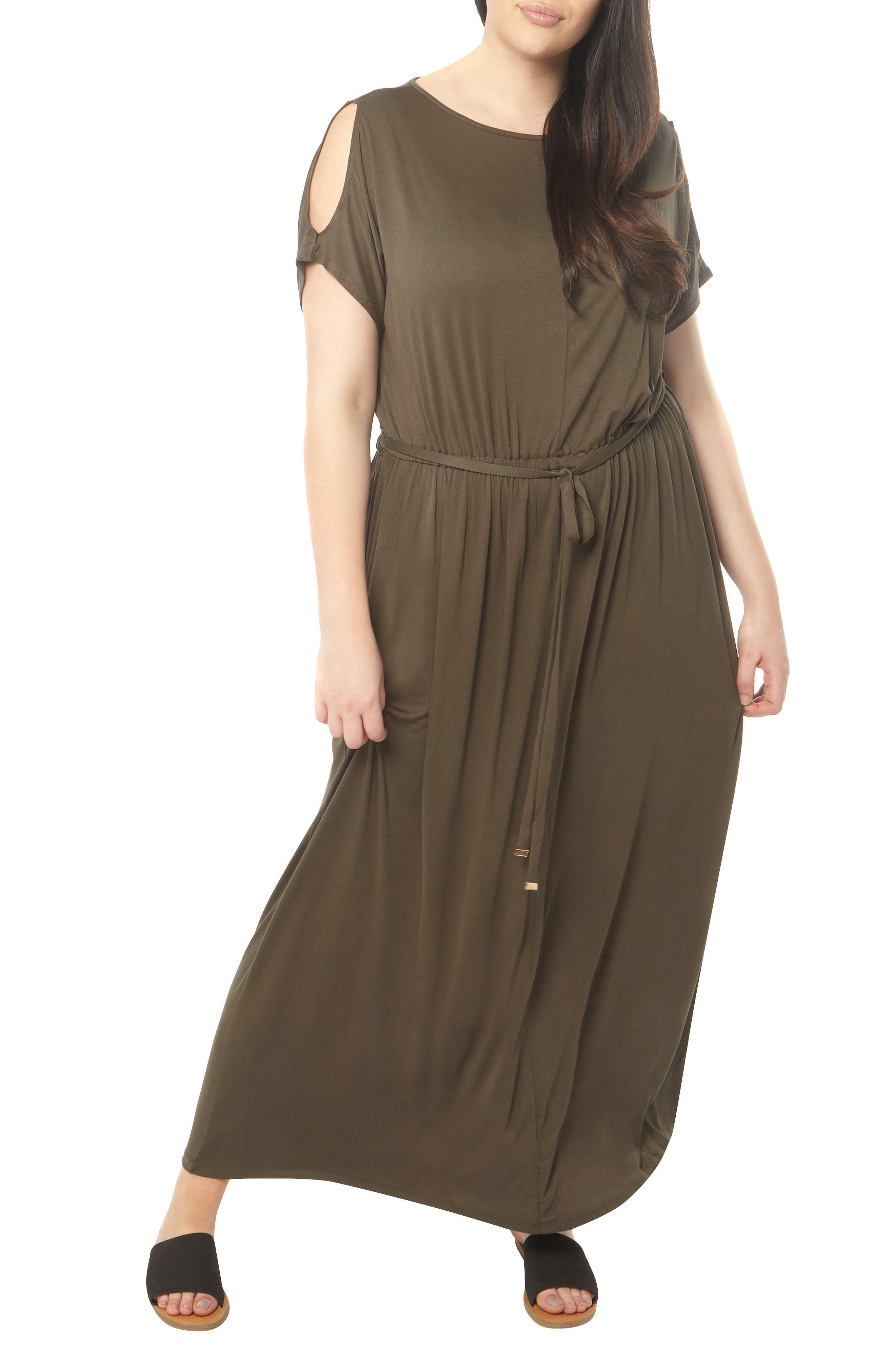 Dorothy Perkins Jersey Cold Shoulder Maxi Dress (Plus Size)