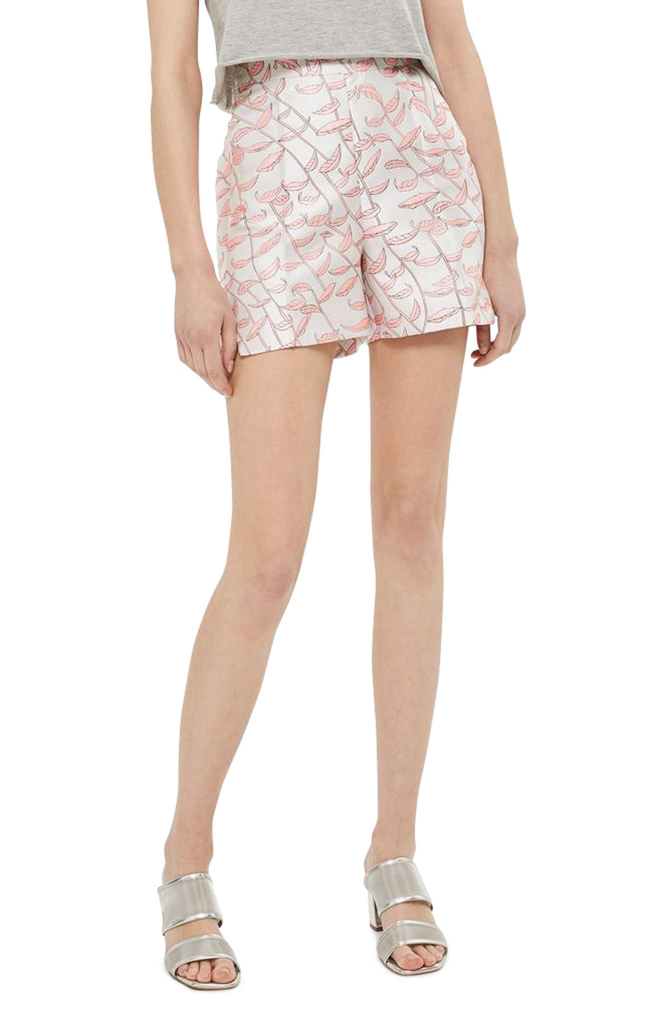 Topshop Leaf Jacquard Shorts