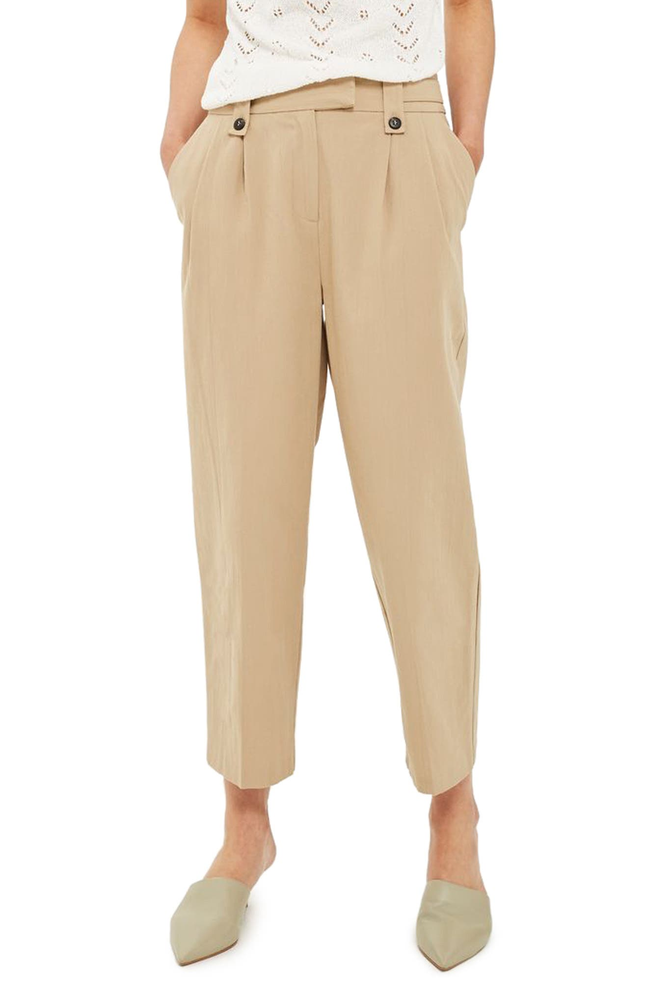 Topshop Button Tab Crop Trousers