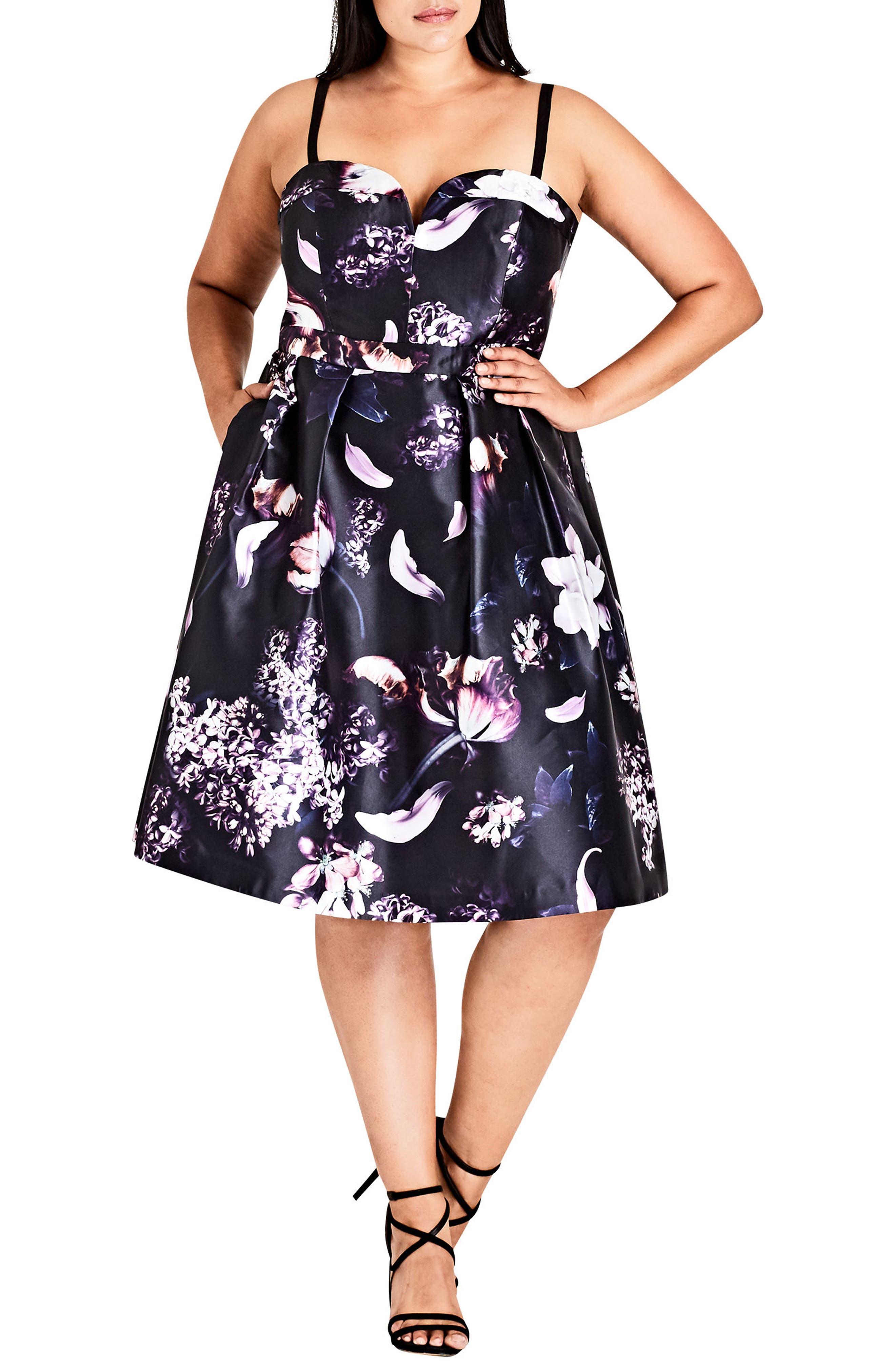 City Chic Dark Romance Fit & Flare Dress (Plus Size)