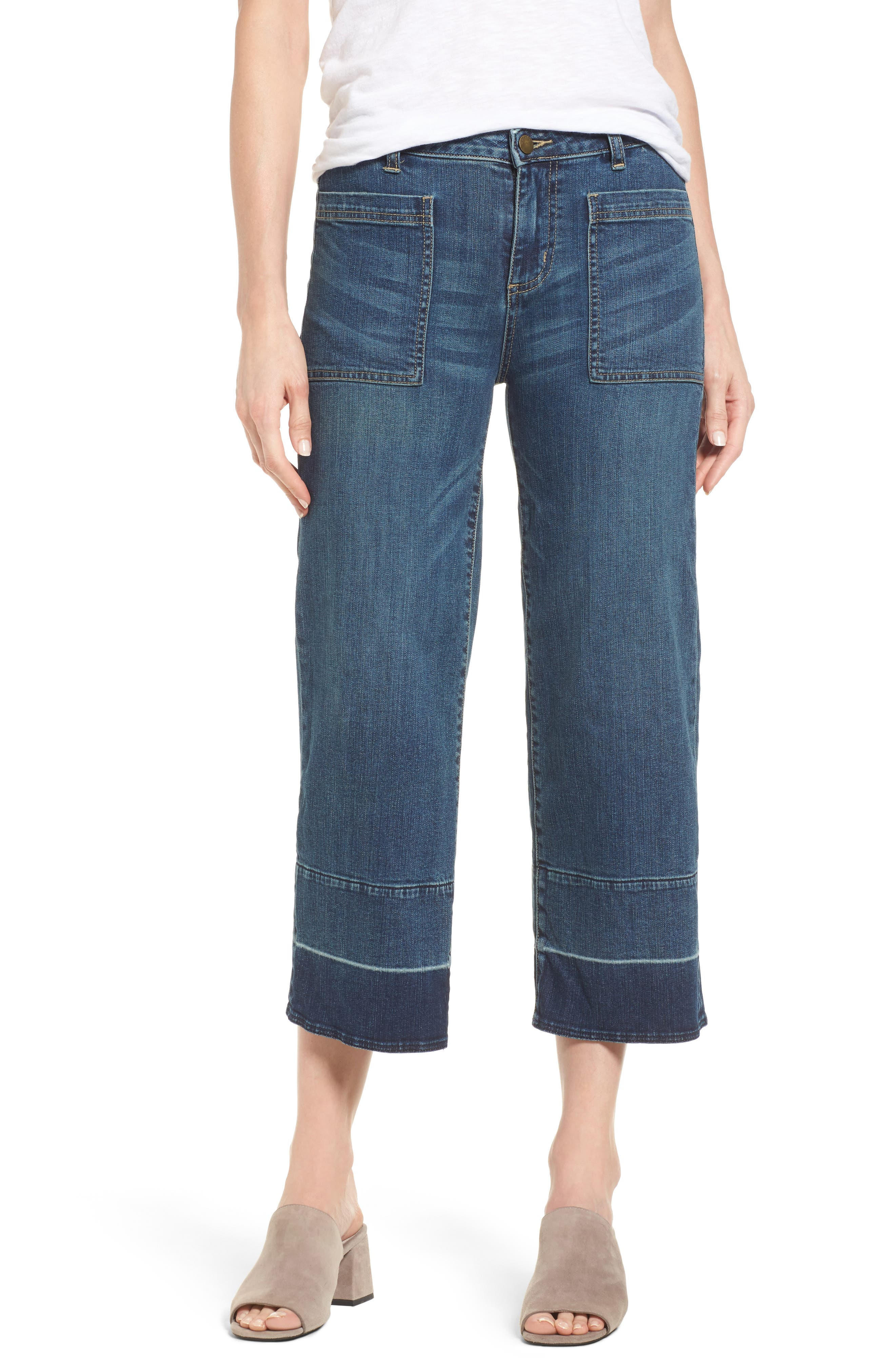 Caslon® Wide Leg Crop Jeans (Chroma) (Regular & Petite)