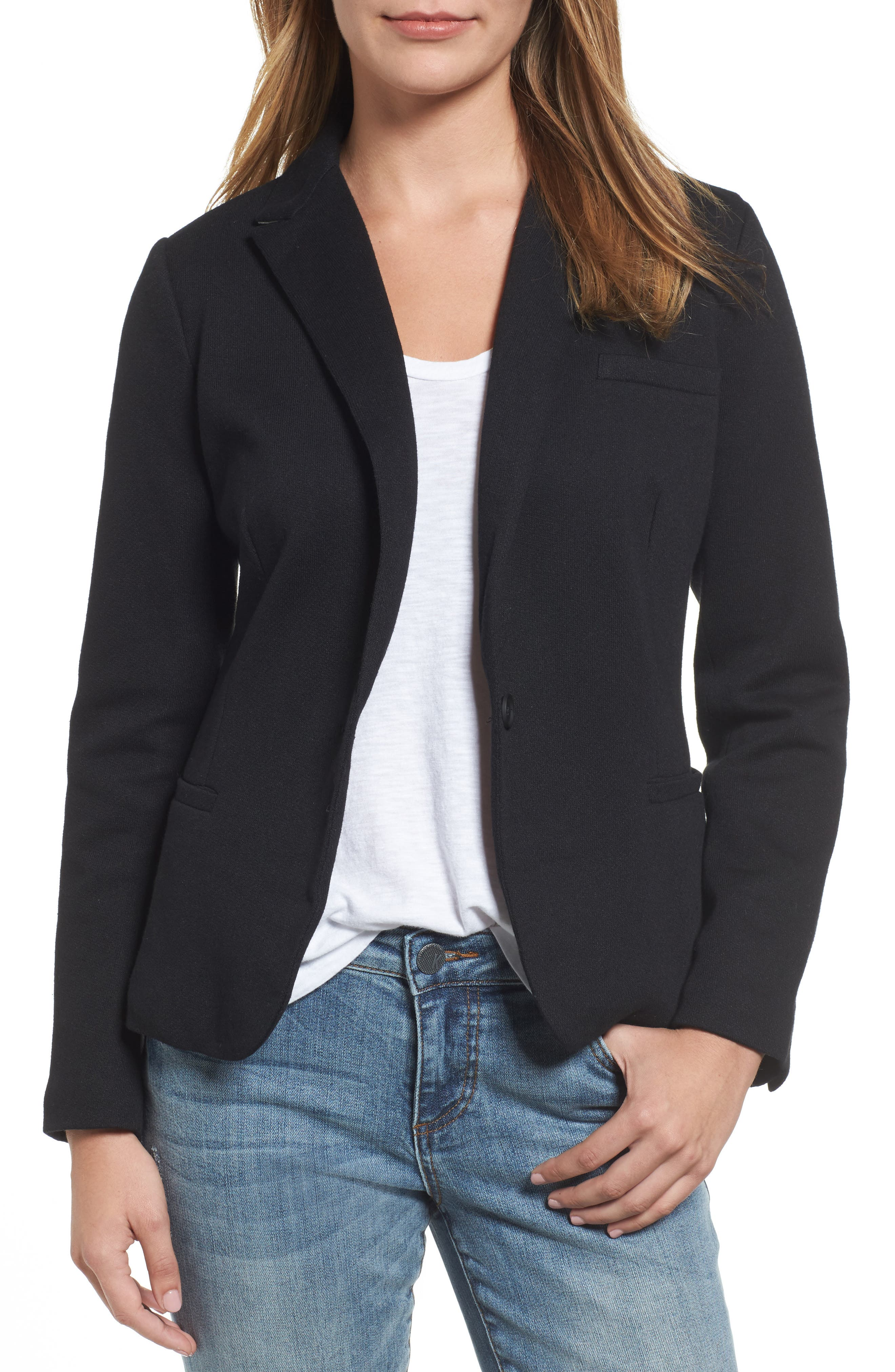 Olivia Moon Elbow Patch Knit Blazer (Regular & Petite)