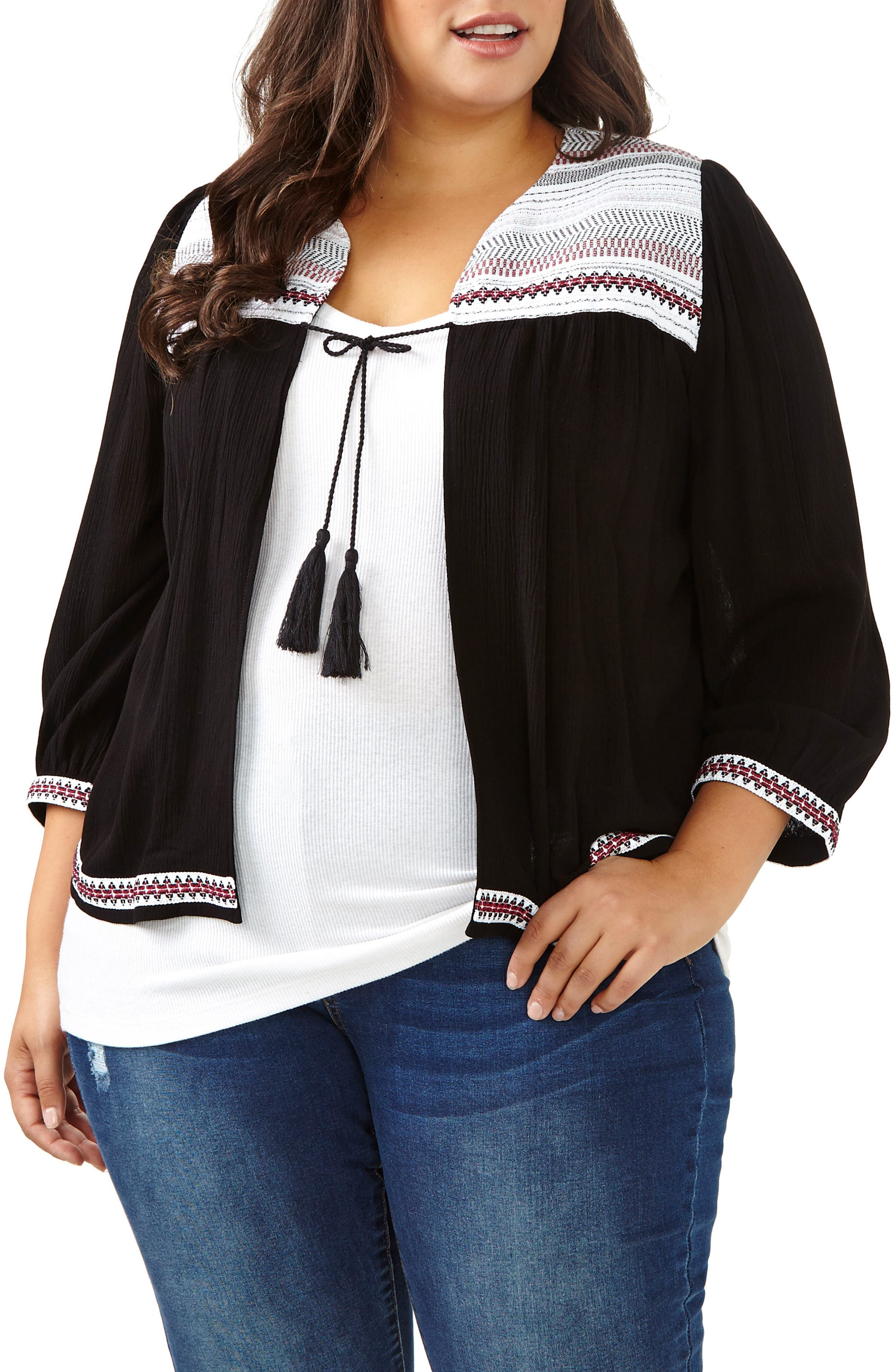 ADDITION ELLE LOVE AND LEGEND Tie Front Cardigan (Plus Size)