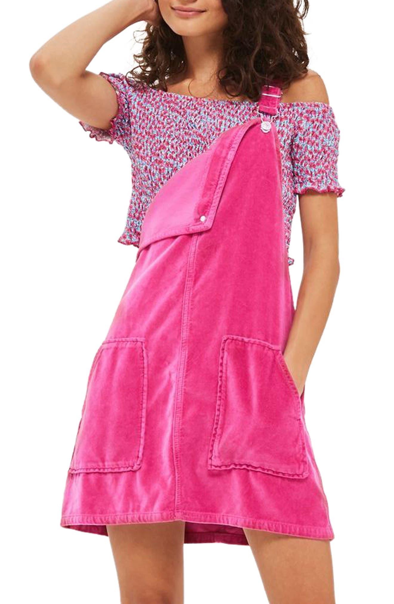 Alternate Image 1 Selected - Topshop Velvet Pinafore Dress