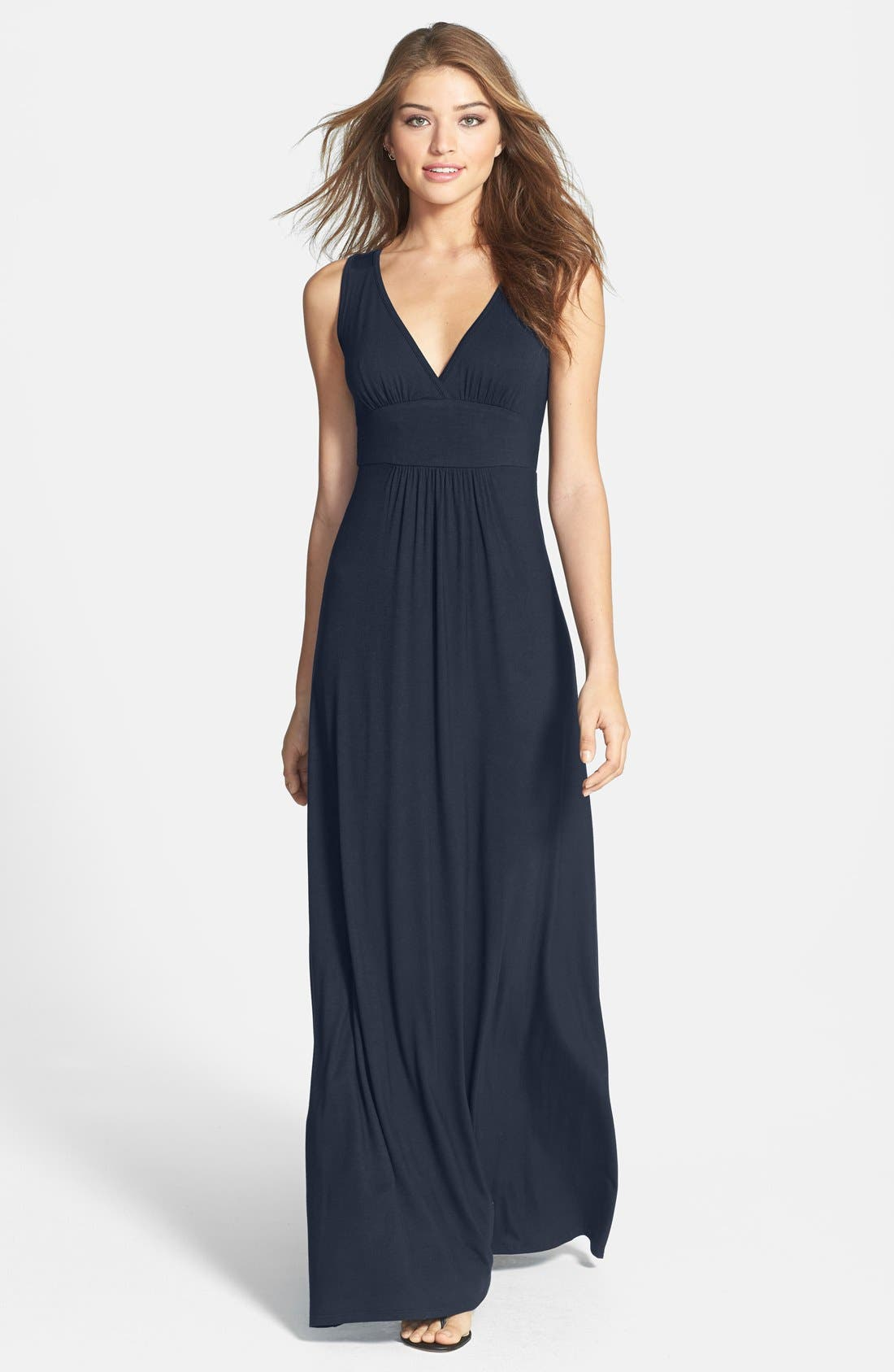 Alternate Image 1 Selected - Loveappella V-Neck Jersey Maxi Dress (Regular & Petite)