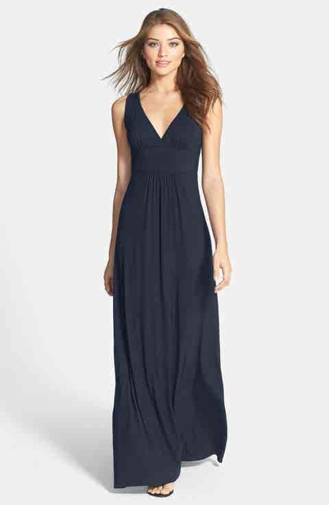 Loveappella V-Neck Jersey Maxi Dress (Regular   Petite)