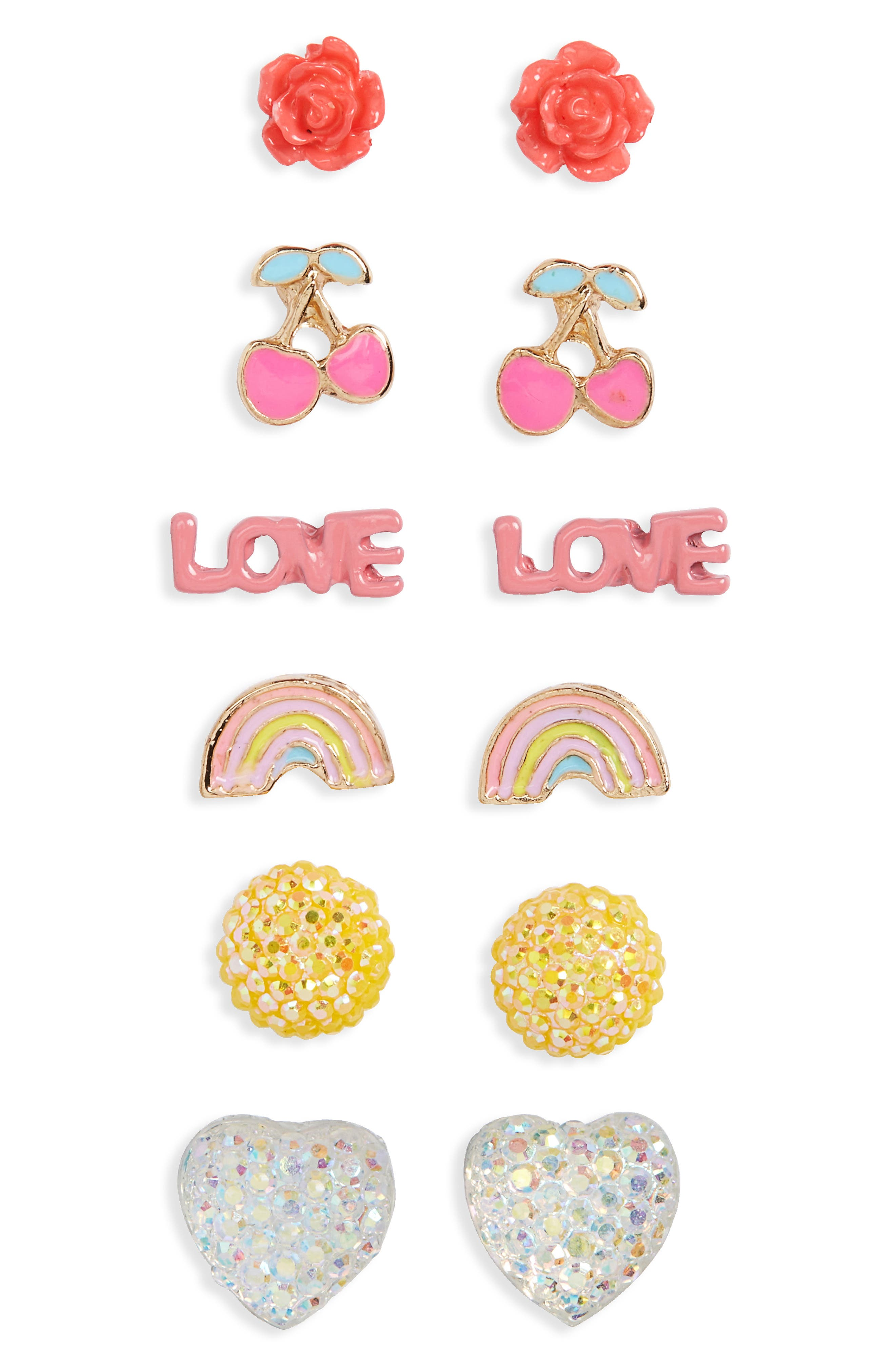 Capelli of New York 6-Pack Earrings (Big Girls)