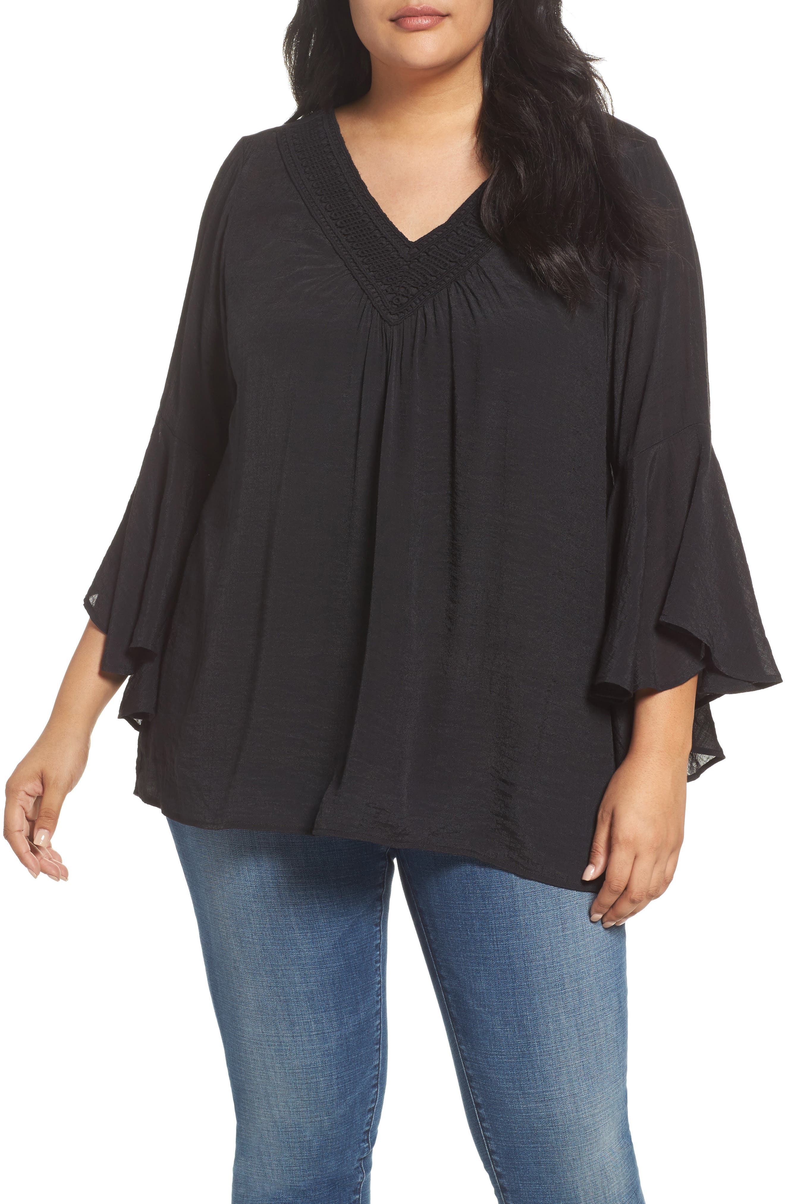 Bobeau Bell Sleeve Peasant Blouse (Plus Size)