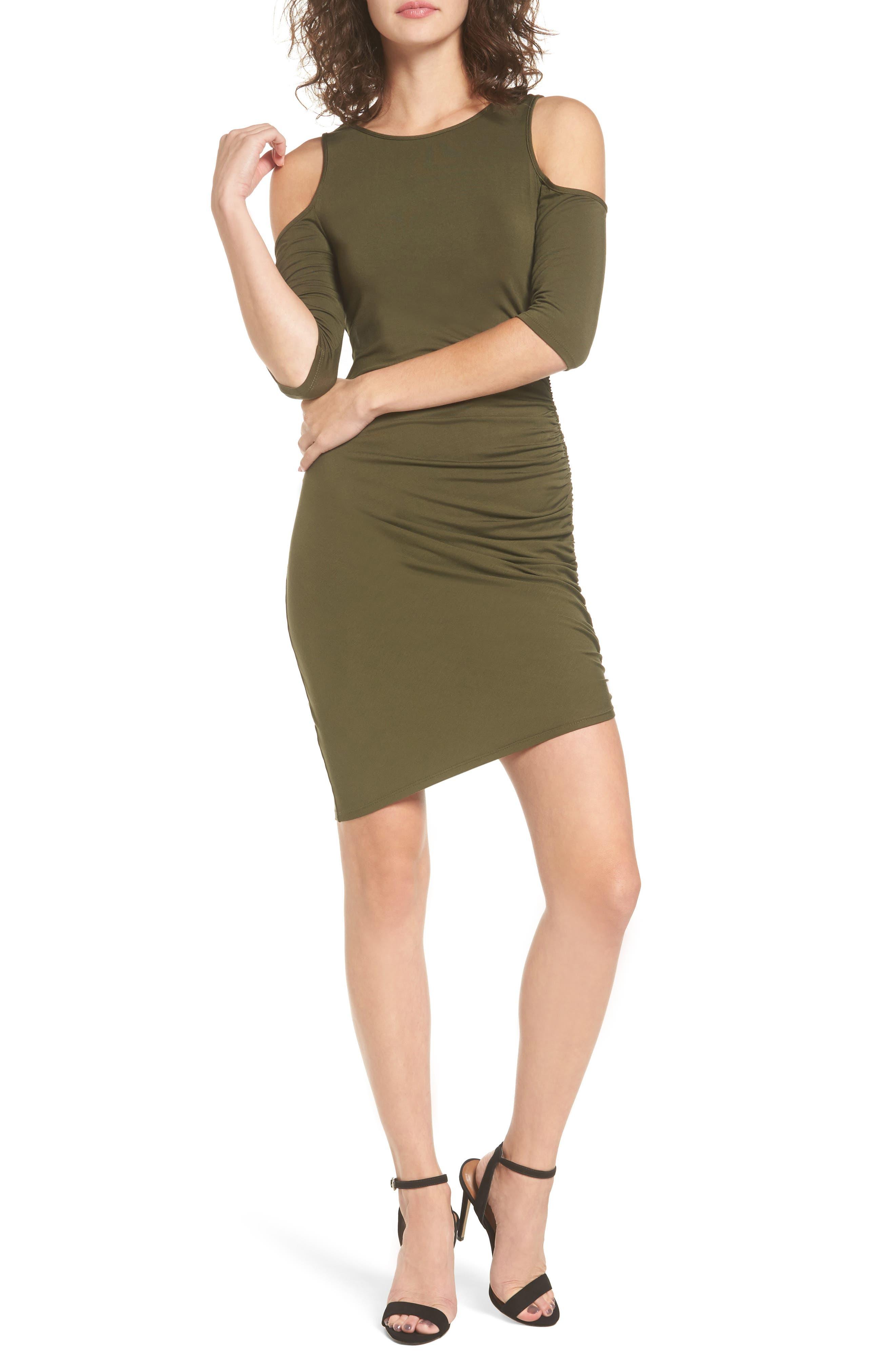 Soprano Ruched Cold Shoulder Dress
