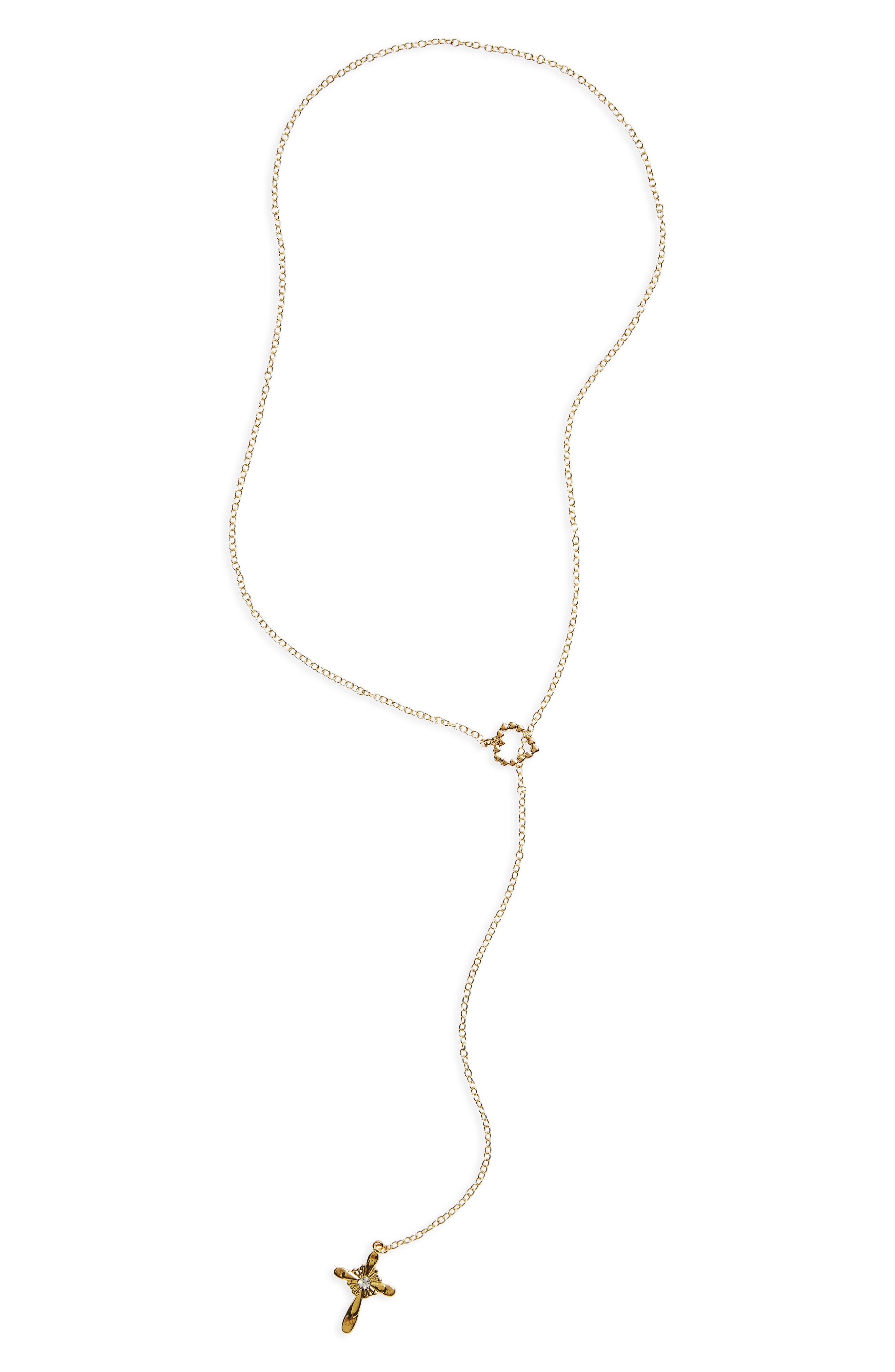 FRASIER STERLING Missing You Cross Lariat Necklace