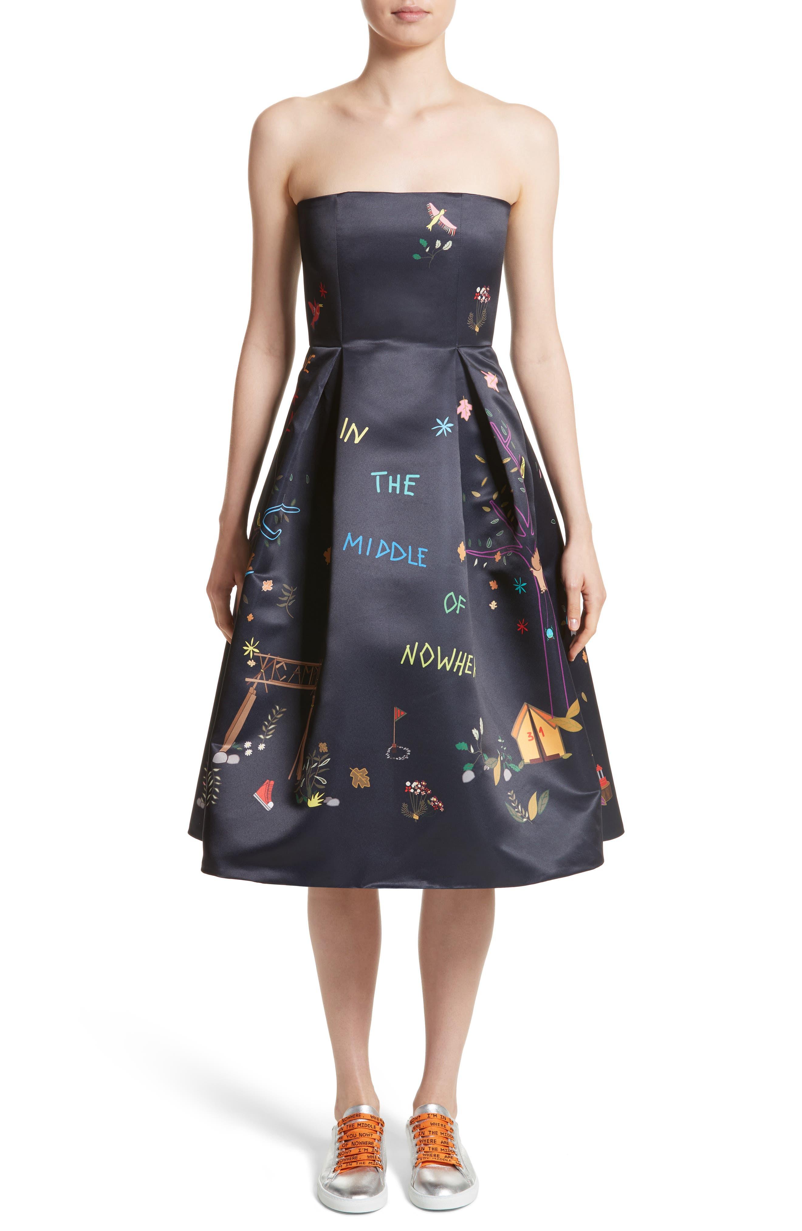 Mira Mikati Adventure Print Strapless Party Dress