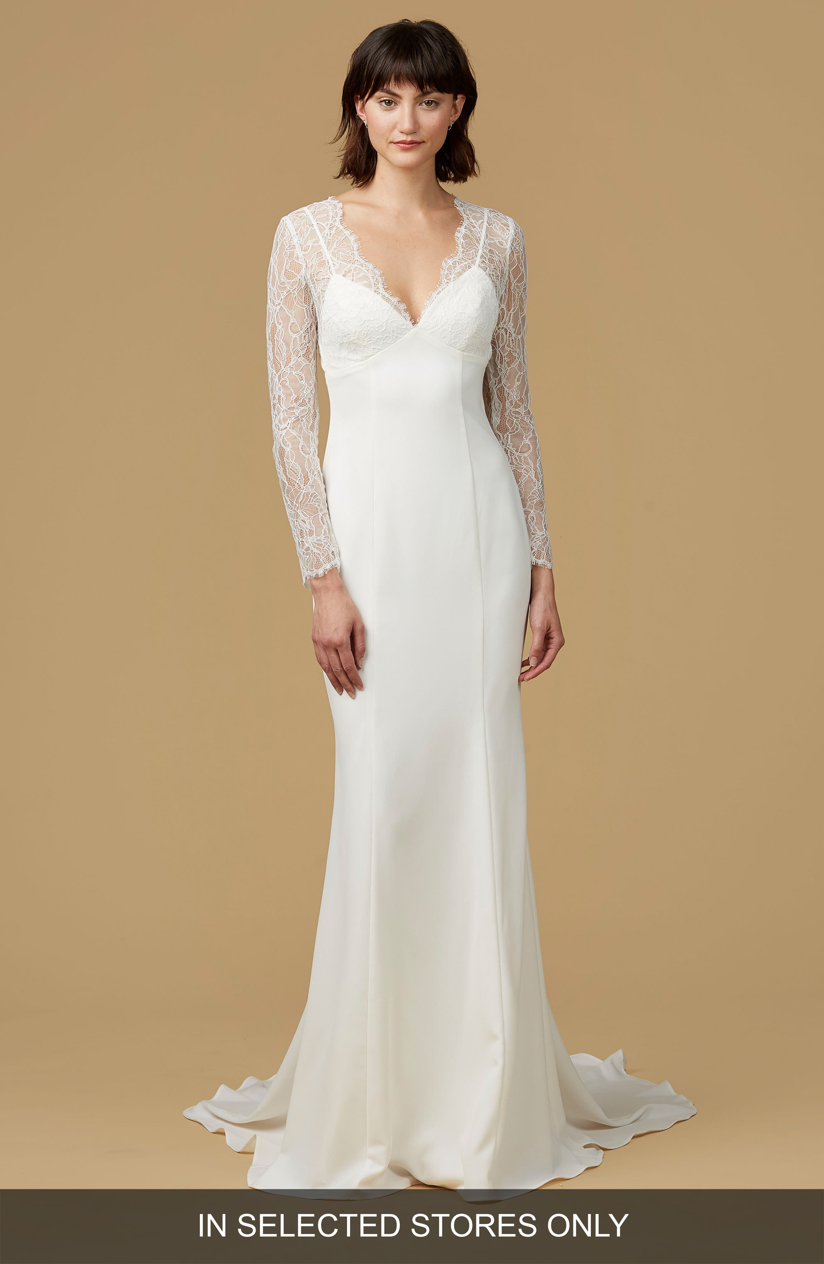 nouvelle AMSALE Easton Chantilly Lace & Crepe Mermaid Gown (In Selected Stores Only)